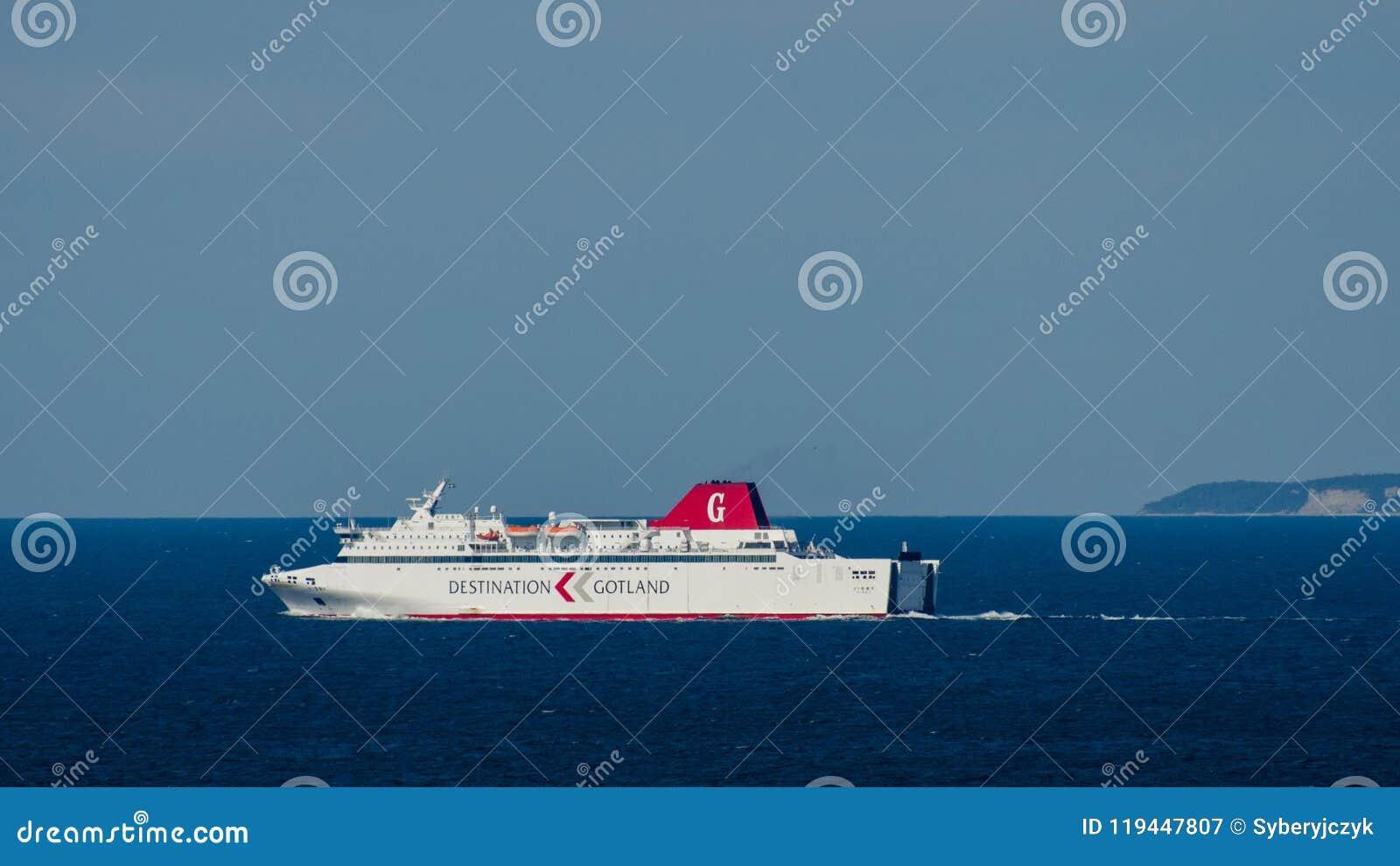 Προορισμός Gotland - ένα πορθμείο που επιστρέφει από τη Gotland