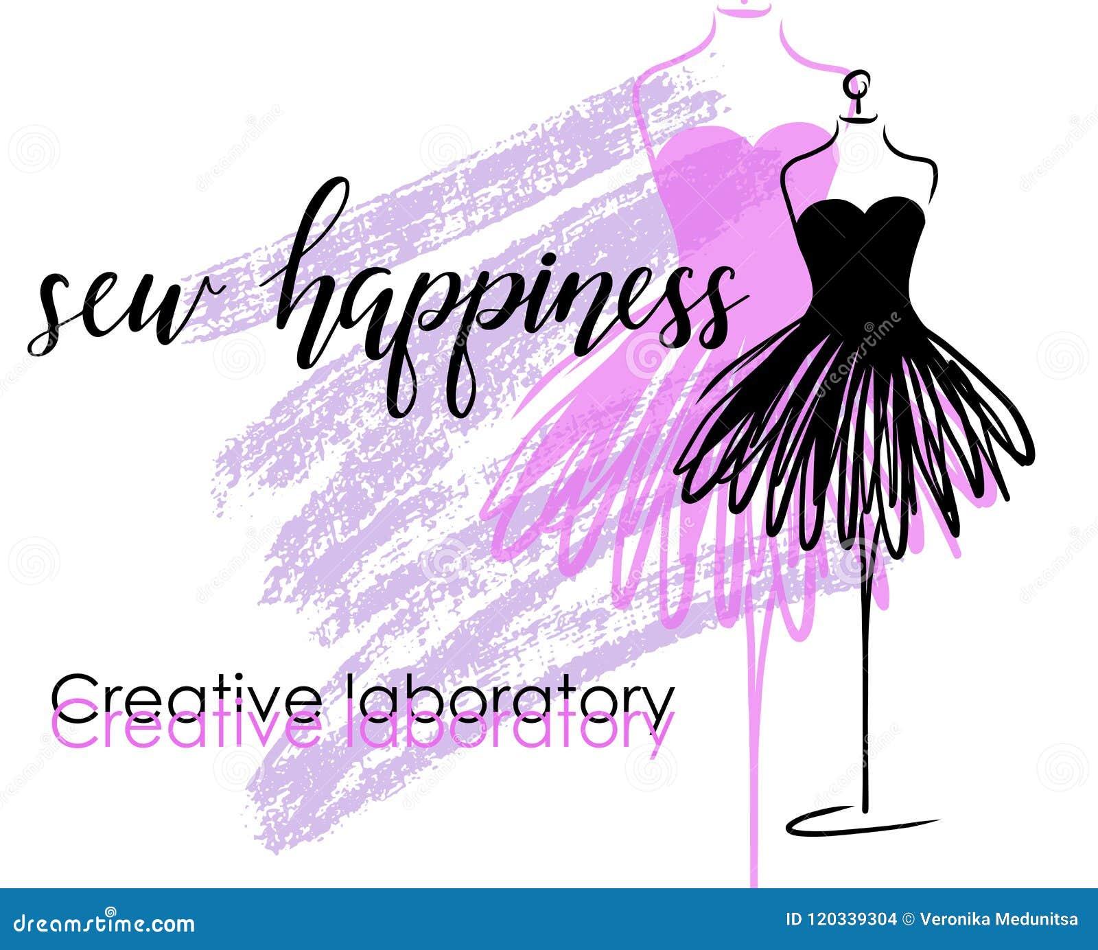 Προσαρμόζοντας το έμβλημα με το μανεκέν ή το ομοίωμα και το έμβλημα με την εγγραφή ράψτε την ευτυχία Σχέδιο λογότυπων μόδας και π