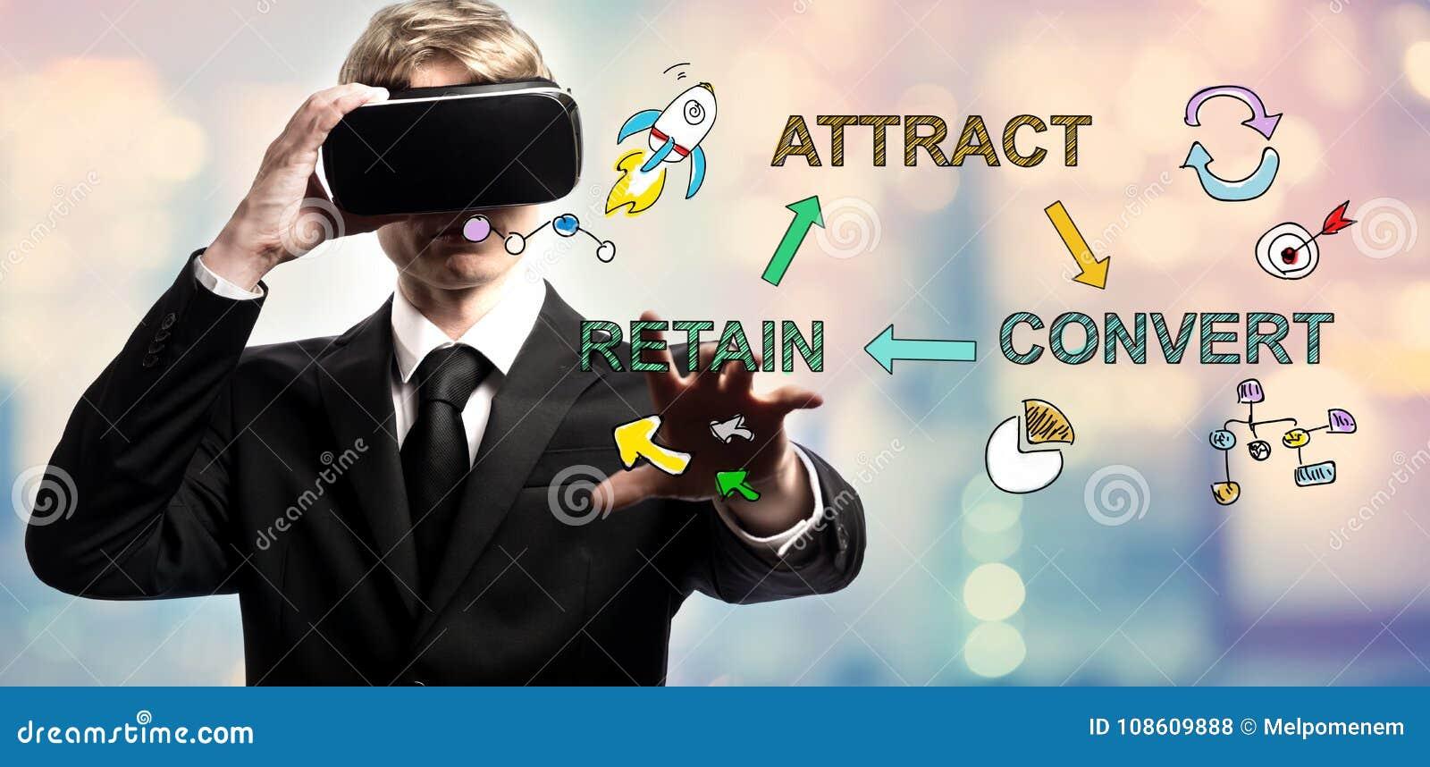 Προσελκύστε το νεοφώτιστο διατηρεί το κείμενο με τον επιχειρηματία χρησιμοποιώντας μια εικονική πραγματικότητα
