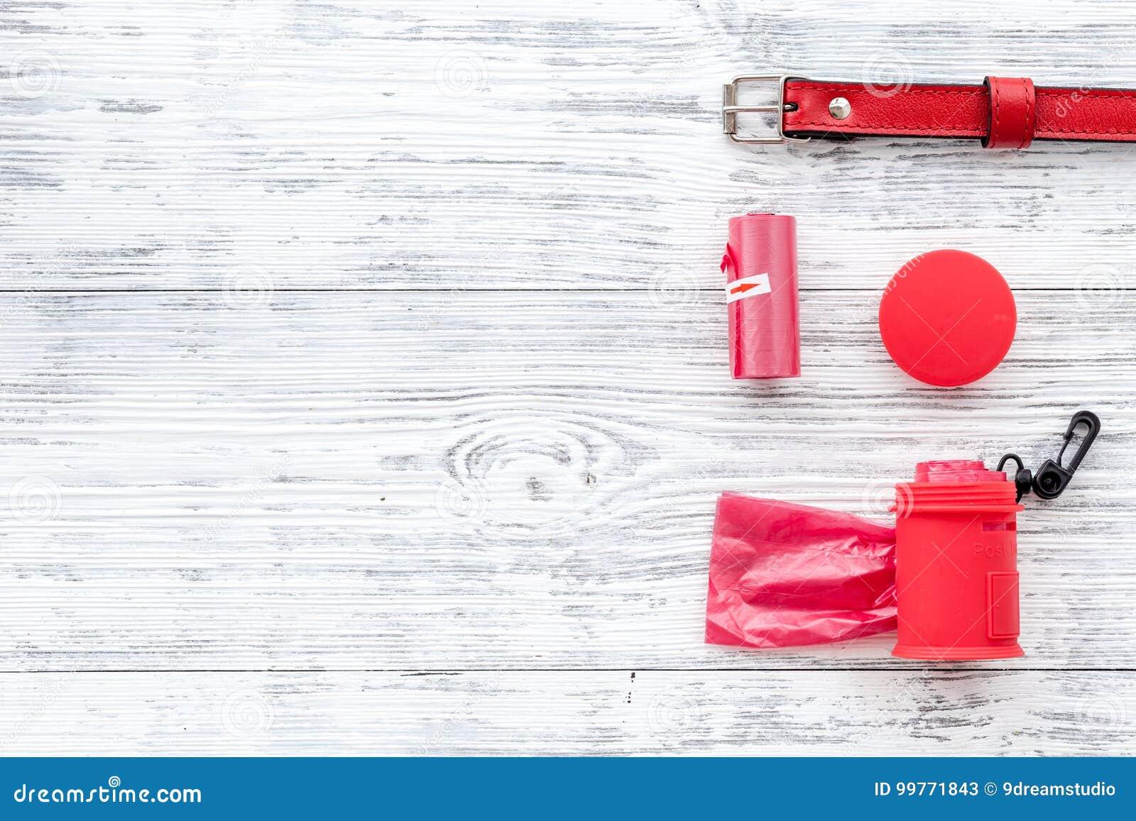 Προσοχή της Pet και κόκκινα εργαλεία καλλωπισμού με το περιλαίμιο στο άσπρο ξύλινο διάστημα άποψης υποβάθρου τοπ για το κείμενο