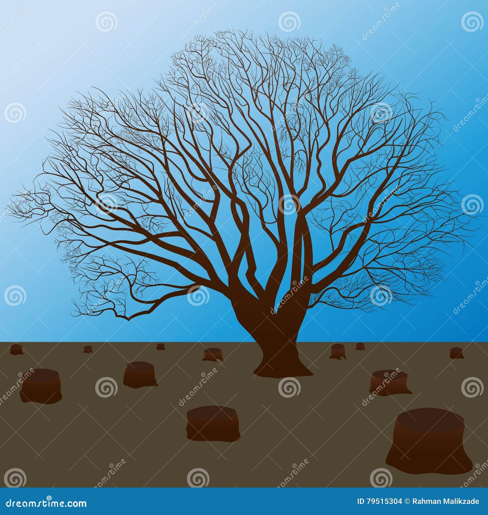 προστατεύστε τη φύση, κόψτε τη σκιαγραφία δέντρων
