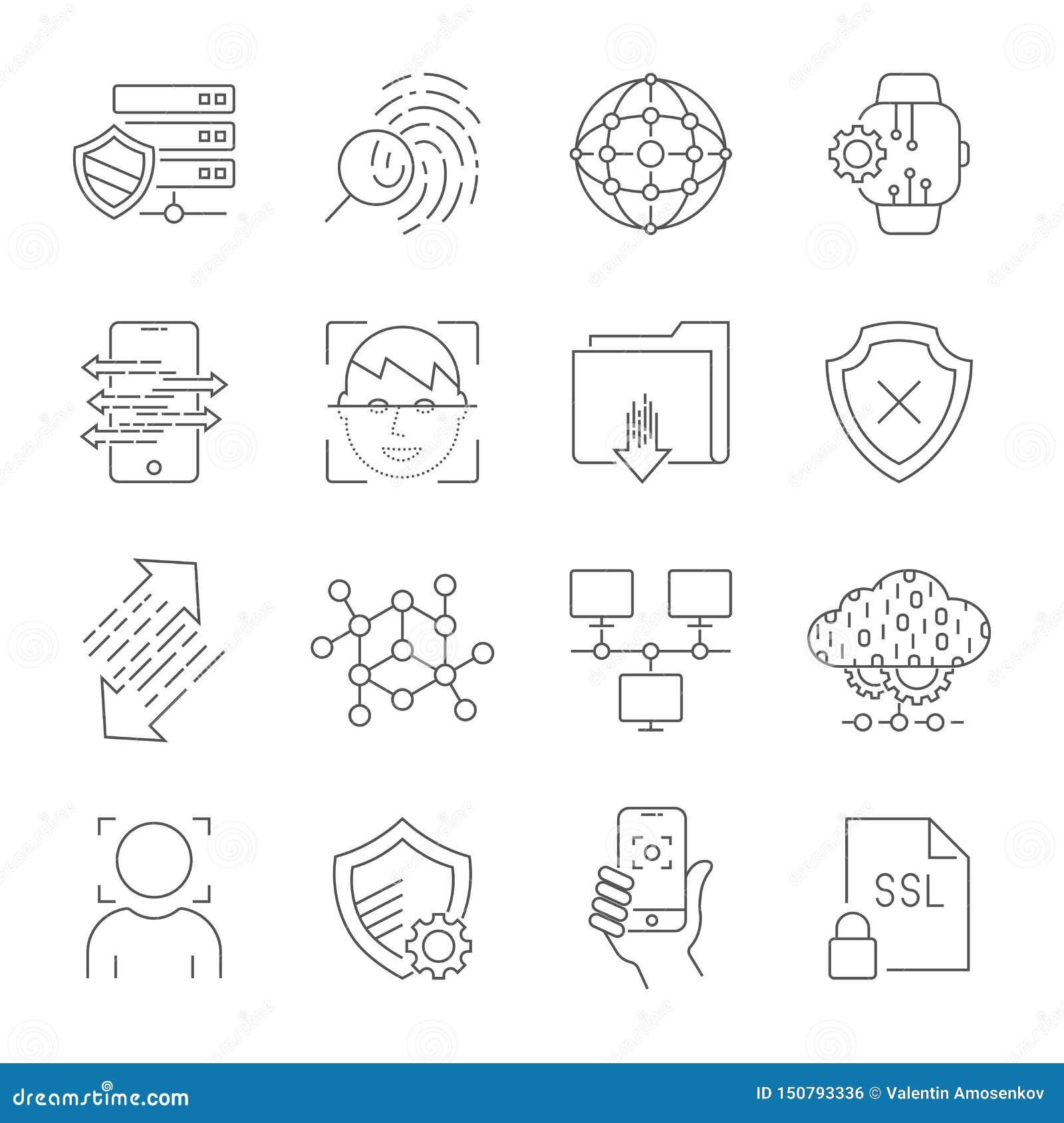 Προσωπικά εικονίδια προστασίας δεδομένων, ασφαλής σύνδεση απολογισμού, σύνδεση ενδιάμεσων με τον χρήστη, αναγνώριση προσώπου, έγκ