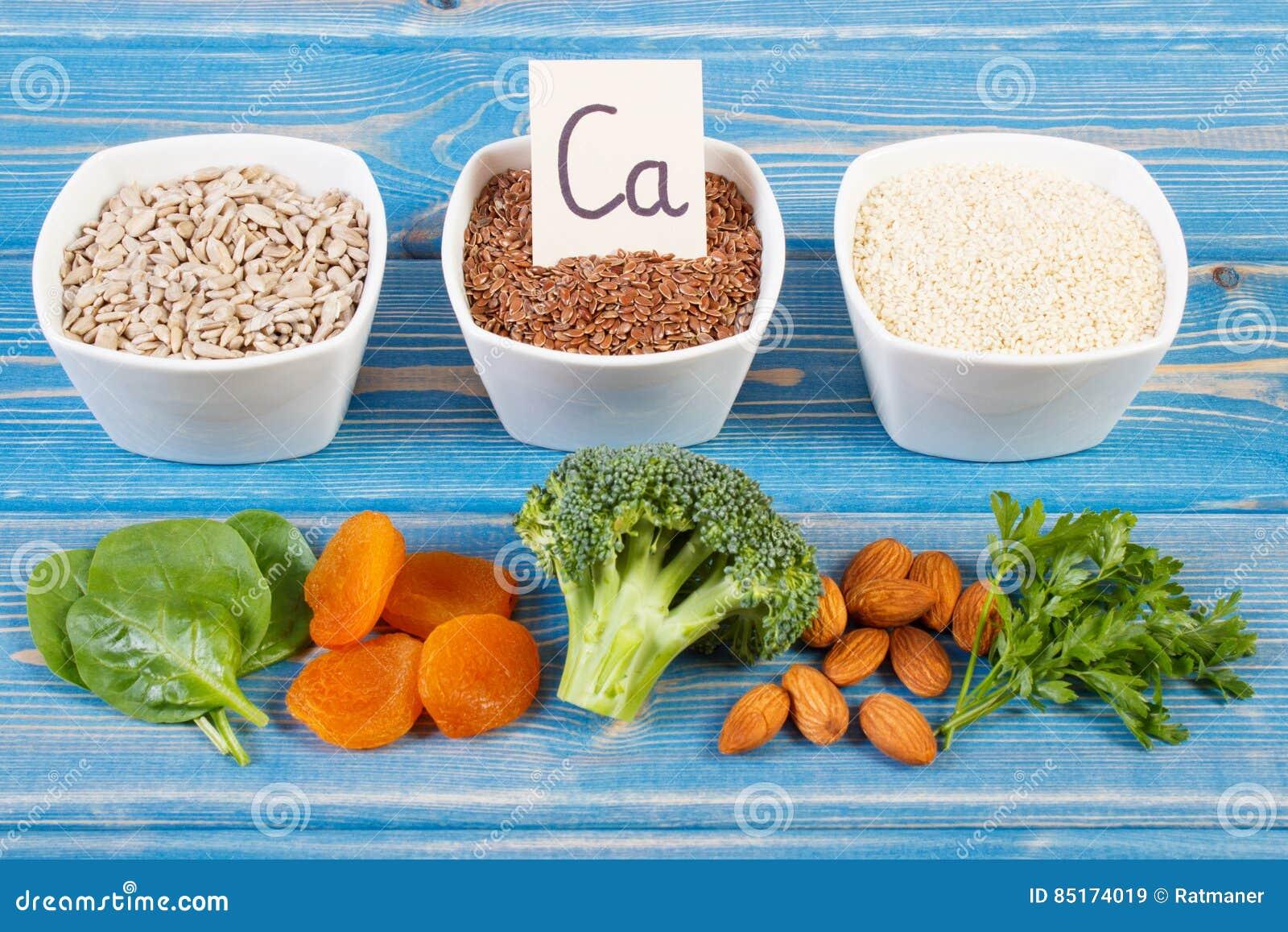 Προϊόντα και συστατικά που περιέχουν το ασβέστιο και την τροφική ίνα, υγιής διατροφή