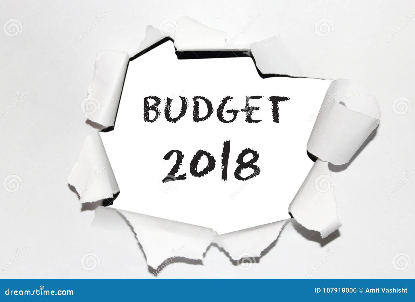 Προϋπολογισμός ` κειμένων ` με το έτος 2018 στο σχισμένο έγγραφο