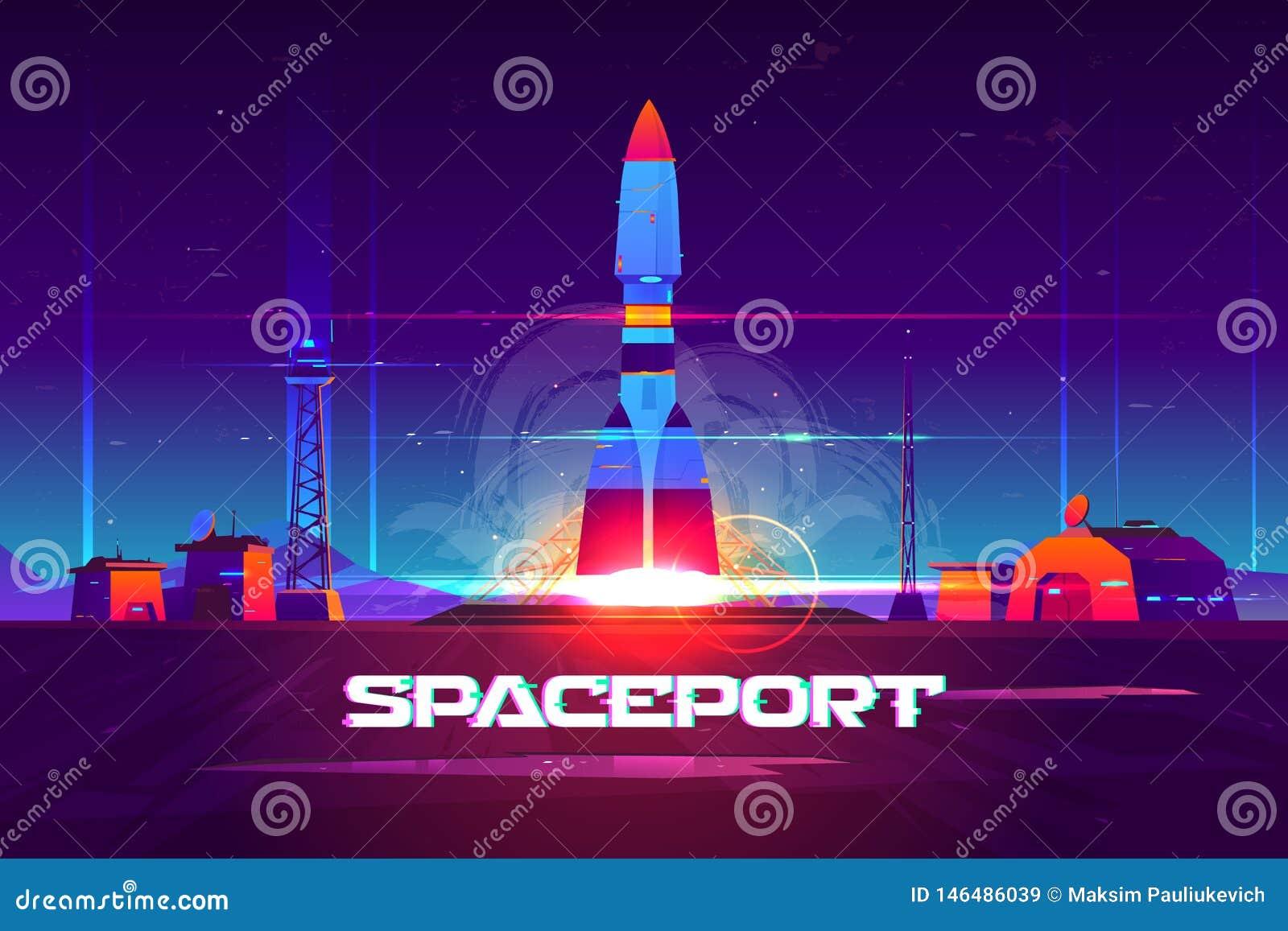 Προώθηση Rocketship από το διάνυσμα κινούμενων σχεδίων spaceport