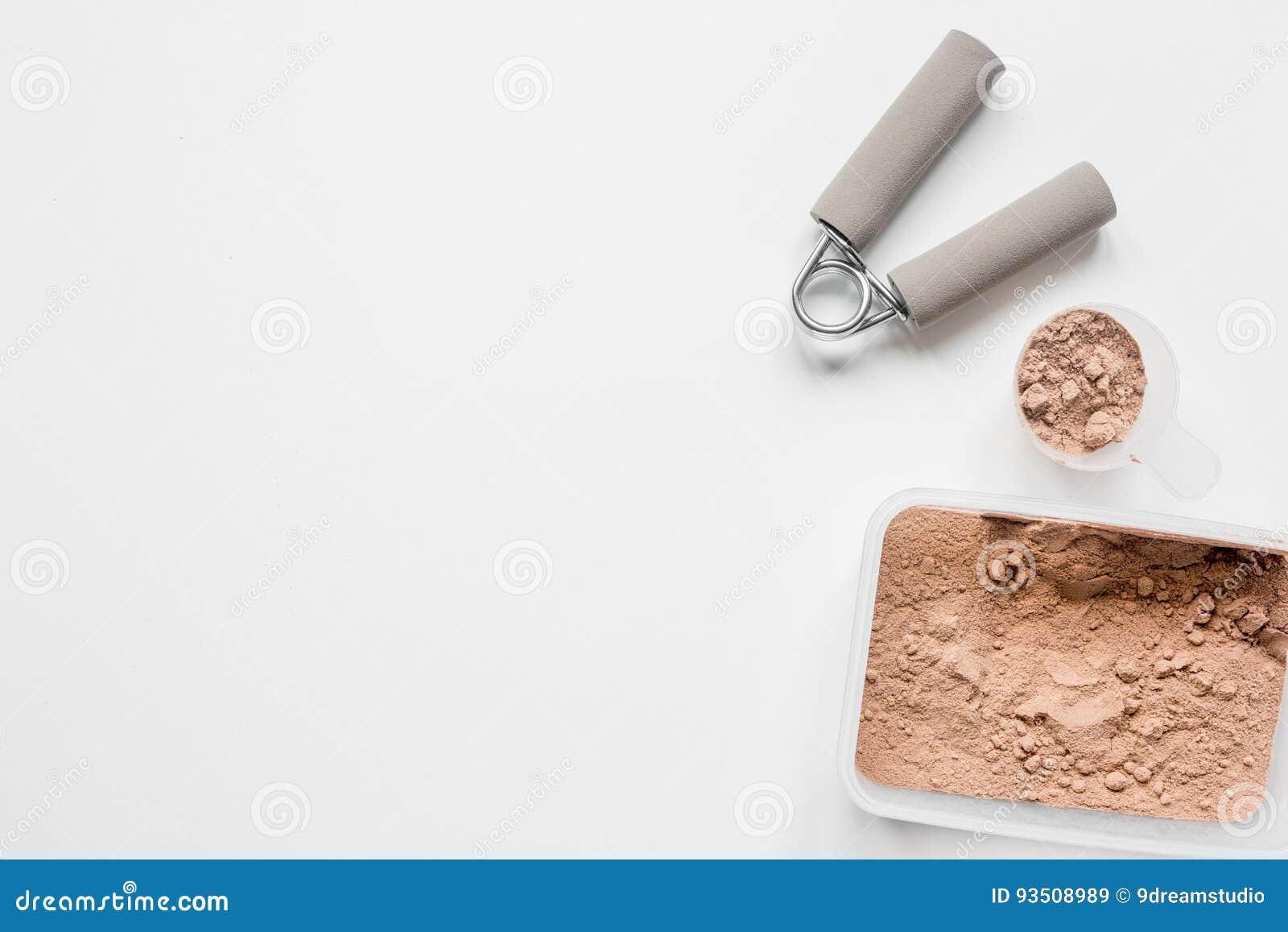 πρωτεϊνική σκόνη για τη διατροφή ικανότητας για να αρχίσει το άσπρο πρότυπο άποψης υποβάθρου τοπ