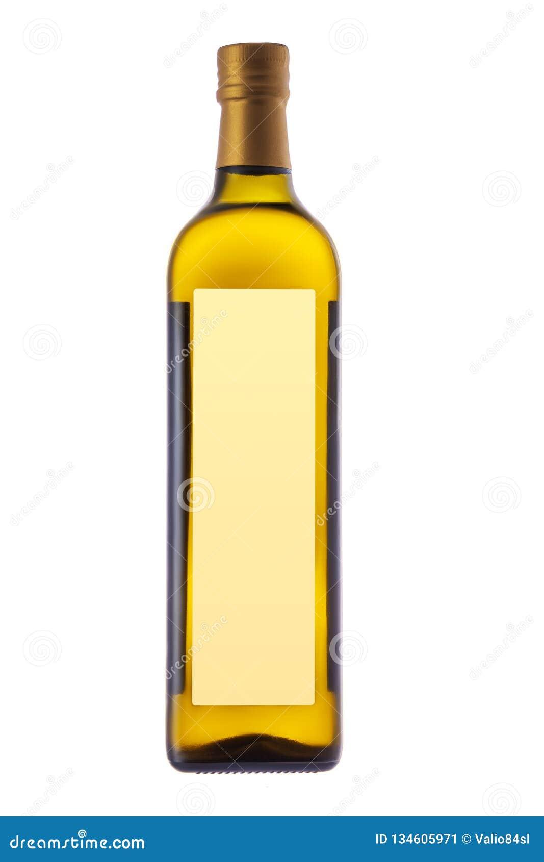 Πρόσθετο παρθένο μπουκάλι ελαιολάδου για τη σαλάτα και μαγείρεμα που απομονώνεται στο άσπρο υπόβαθρο