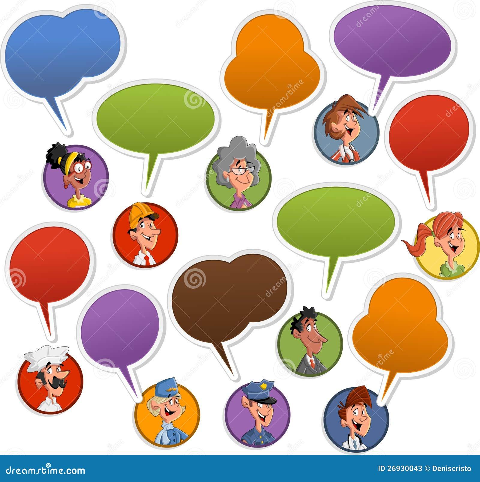 Πρόσωπα ανθρώπων με τα εικονίδια λεκτικών μπαλονιών