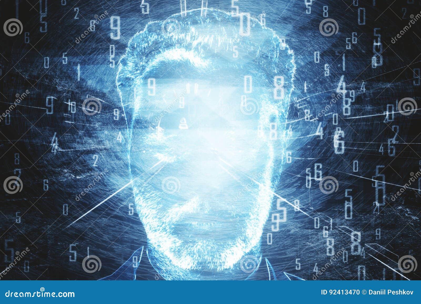 Πρόσωπο ατόμων ` s με τα μπλε ψηφία