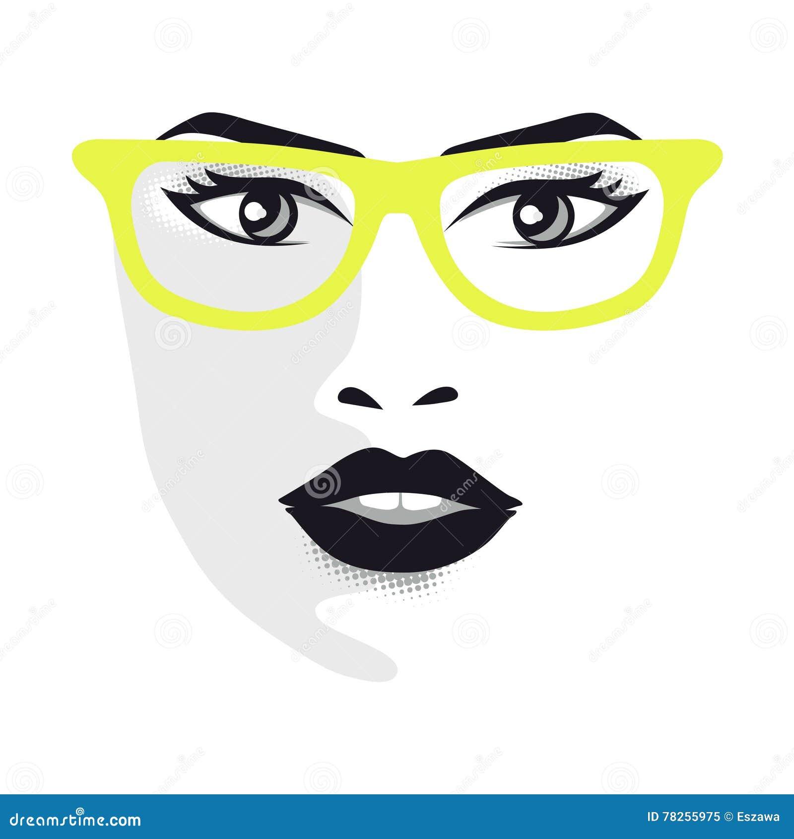 Πρόσωπο γυναικών με τα γυαλιά για τους σχεδιαστές - διανυσματική απεικόνιση γκρίζα