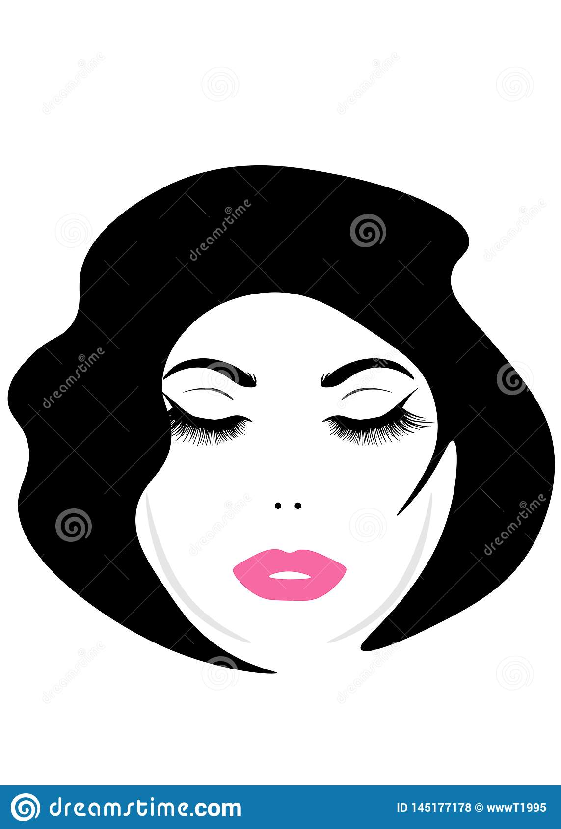 Πρόσωπο Ιστού μιας νέας όμορφης γυναίκας με μακρυμάλλη Εικονίδιο γυναικών hairstyle Οι γυναίκες λογότυπων αντιμετωπίζουν το μοντέ