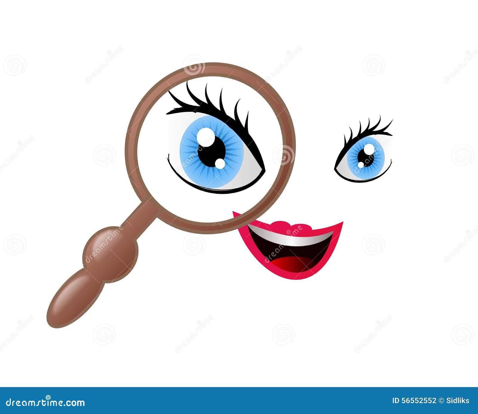 Download Πρόσωπο με πιό magnifier απεικόνιση αποθεμάτων. εικονογραφία από αρκετά - 56552552