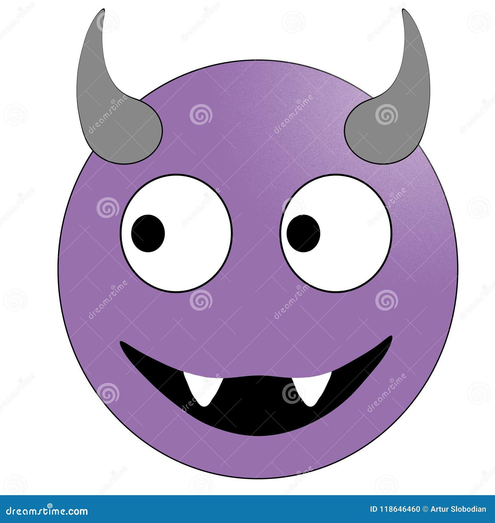 Πρόσωπο χαμόγελου με τα κέρατα Πορφυρός διάβολος emoticon