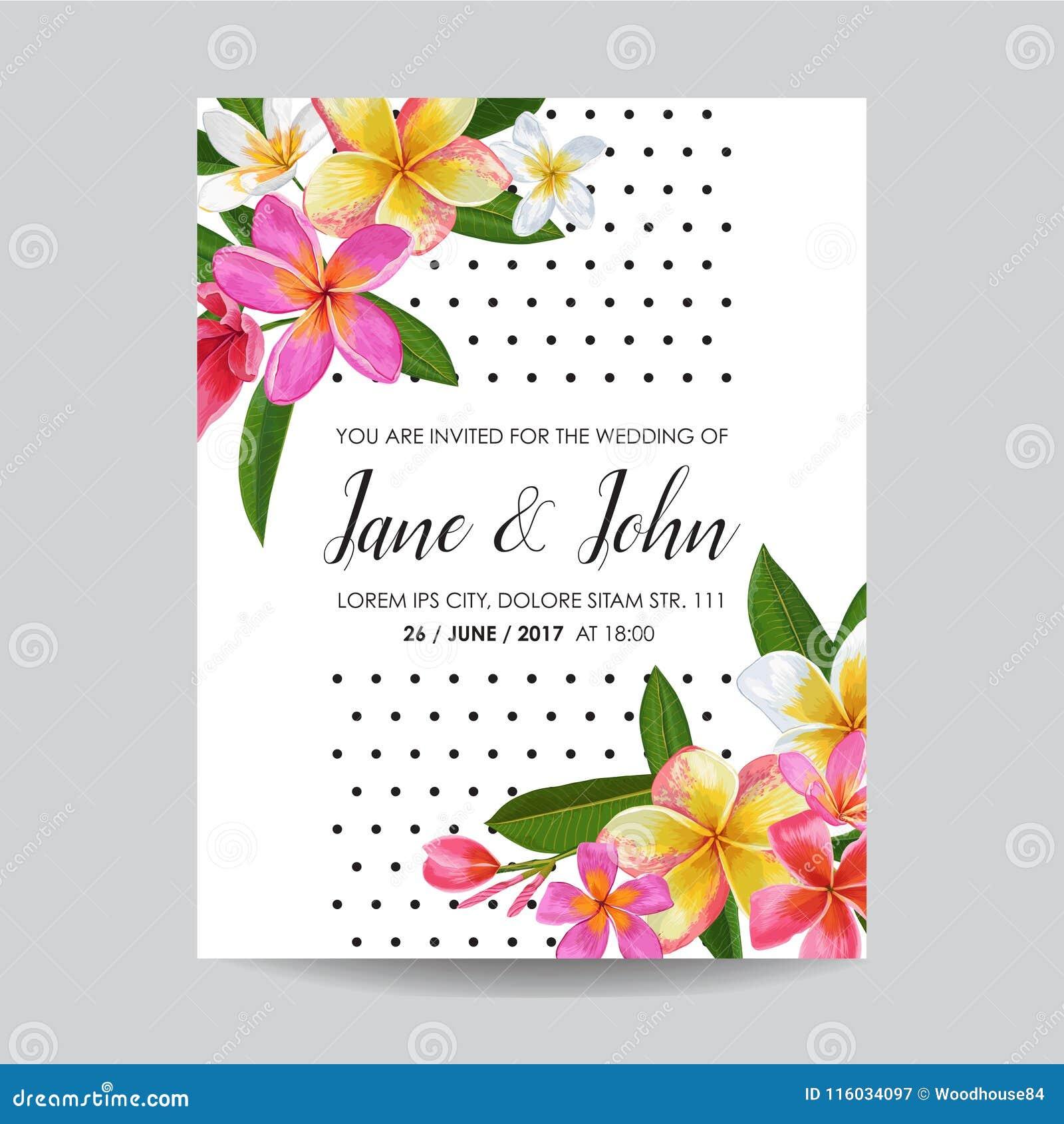 Πρότυπο γαμήλιας πρόσκλησης με τα λουλούδια Plumeria Τροπικός Floral εκτός από την κάρτα ημερομηνίας Εξωτικό ρομαντικό σχέδιο λου