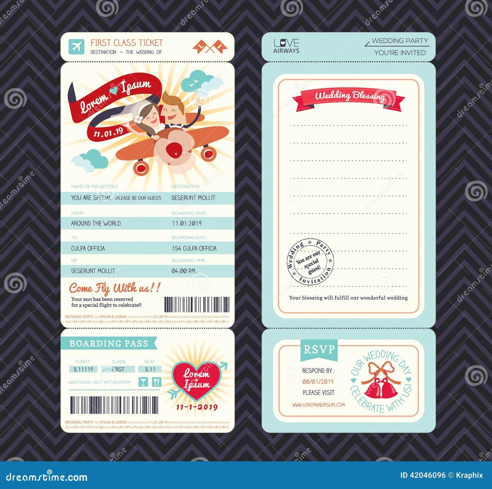 Πρότυπο γαμήλιας πρόσκλησης εισιτηρίων περασμάτων τροφής κινούμενων σχεδίων
