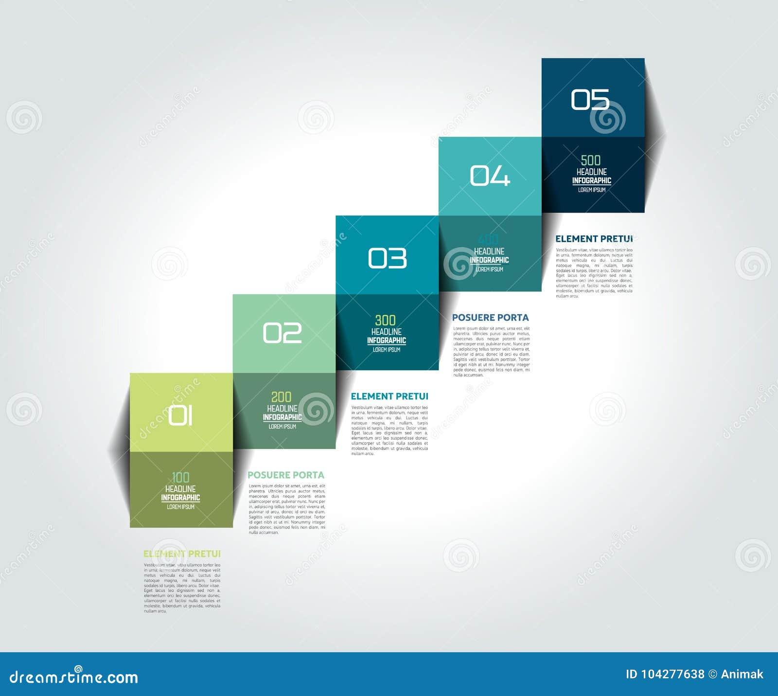 Πρότυπο, διάγραμμα, διάγραμμα, υπόδειξη ως προς το χρόνο, επιχειρησιακό διανυσματικό σχέδιο βημάτων σκαλών Infographic