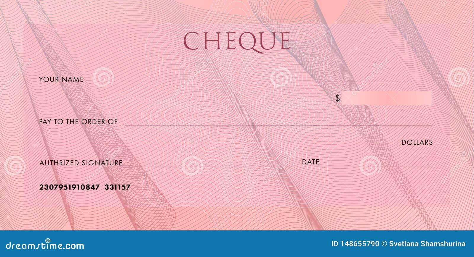 Πρότυπο ελέγχου, πρότυπο Chequebook Κενή ρόδινη επιταγή επιχειρησιακών τραπεζών με τις πτυχές και την περίληψη υφασμάτων σχεδίων