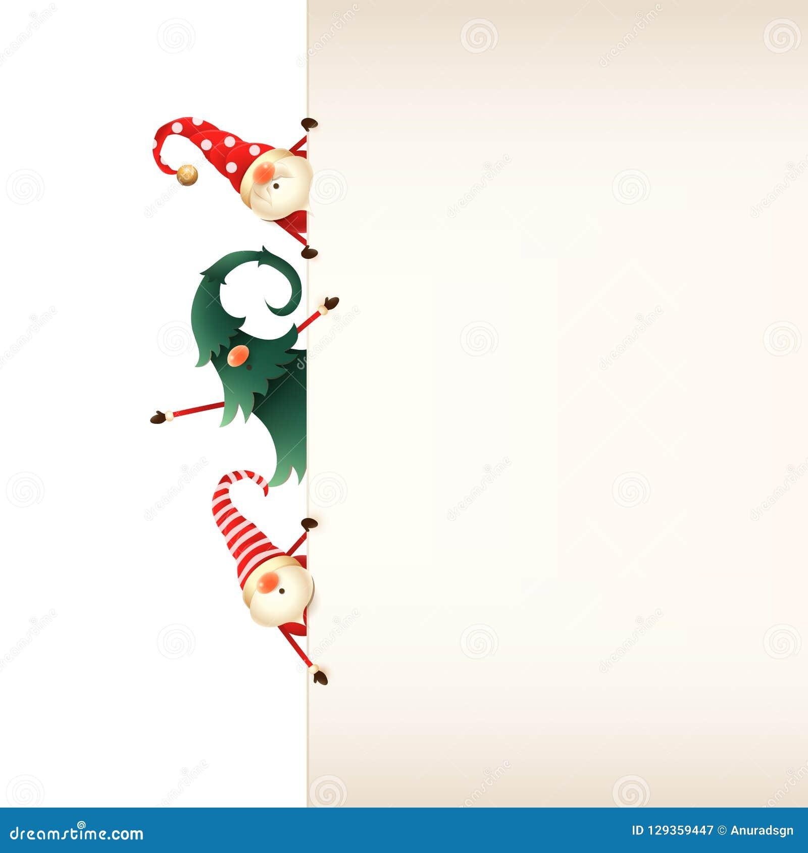 Πρότυπο ευχετήριων καρτών Χριστουγέννων Τρία στοιχειά Χριστουγέννων που κρυφοκοιτάζουν πίσω από την πινακίδα στο διαφανές υπόβαθρ