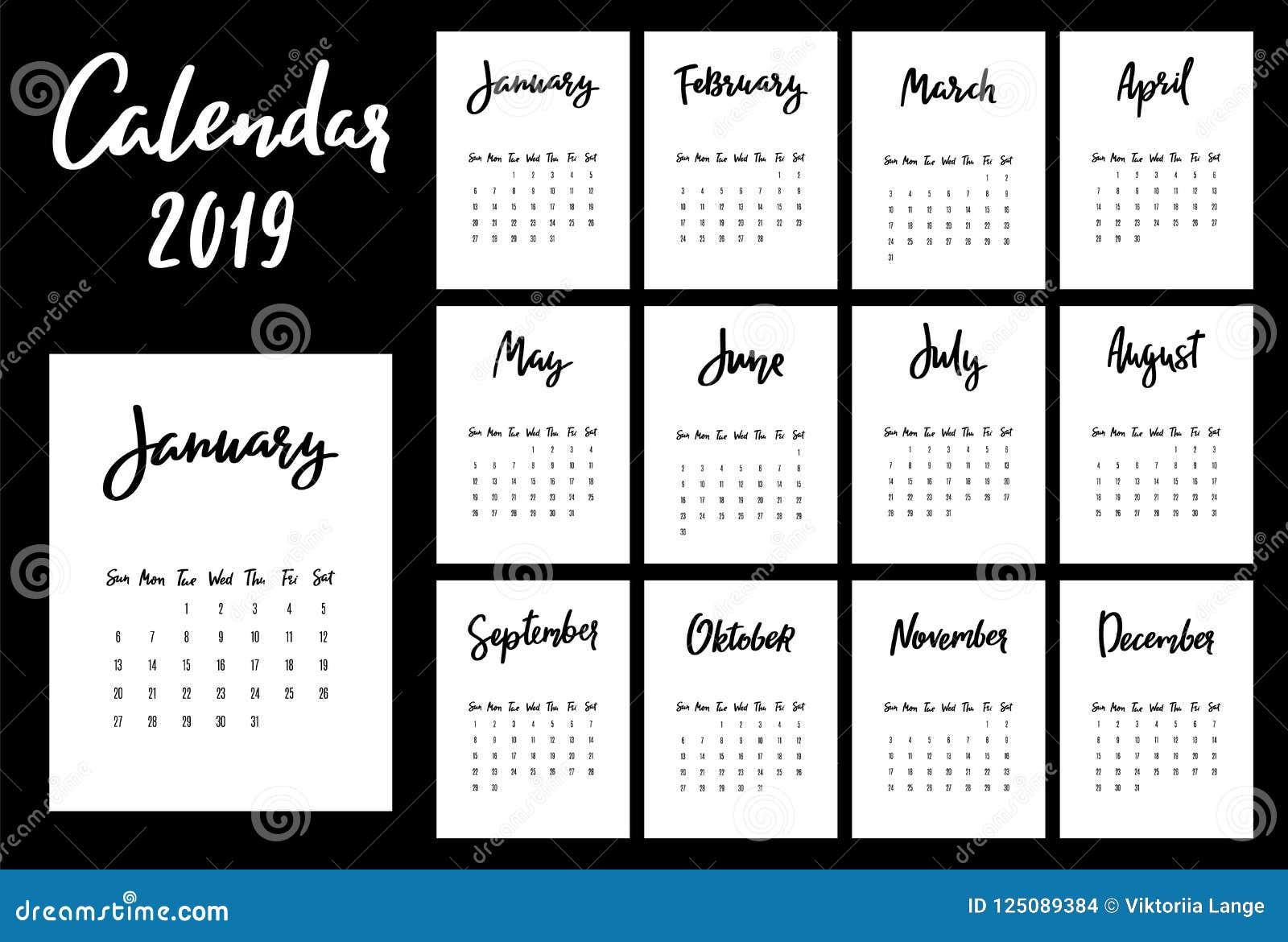 Πρότυπο ημερολογιακού 2019 διανυσματικό σχεδίου Ενάρξεις εβδομάδας από την Κυριακή
