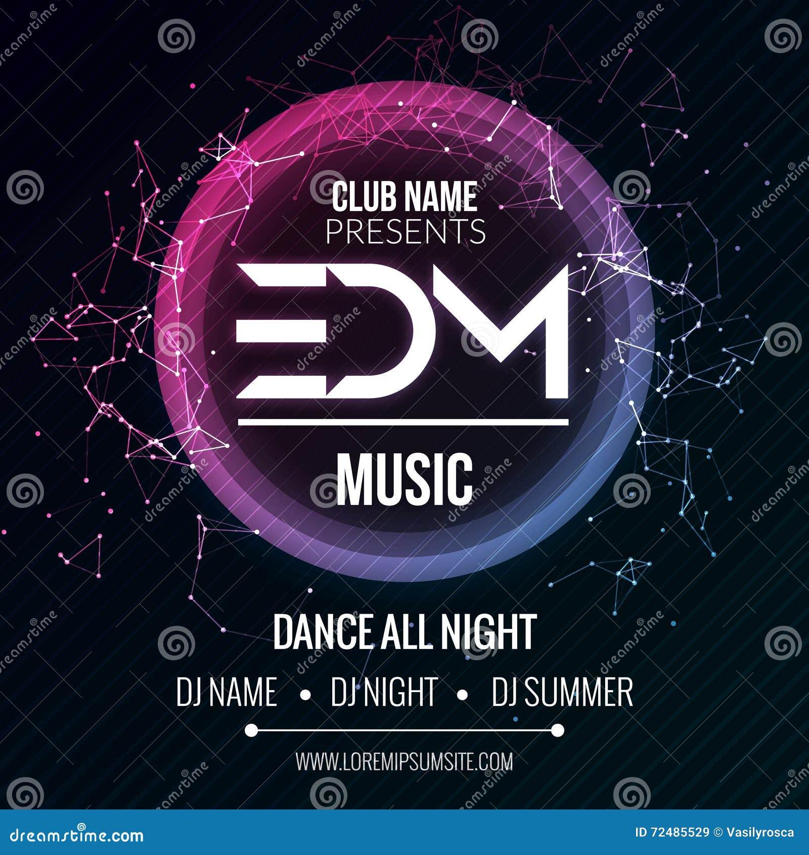 Πρότυπο κόμματος μουσικής λεσχών EDM, ιπτάμενο κόμματος χορού, φυλλάδιο Υγιής αφίσα εμβλημάτων λεσχών κόμματος νύχτας