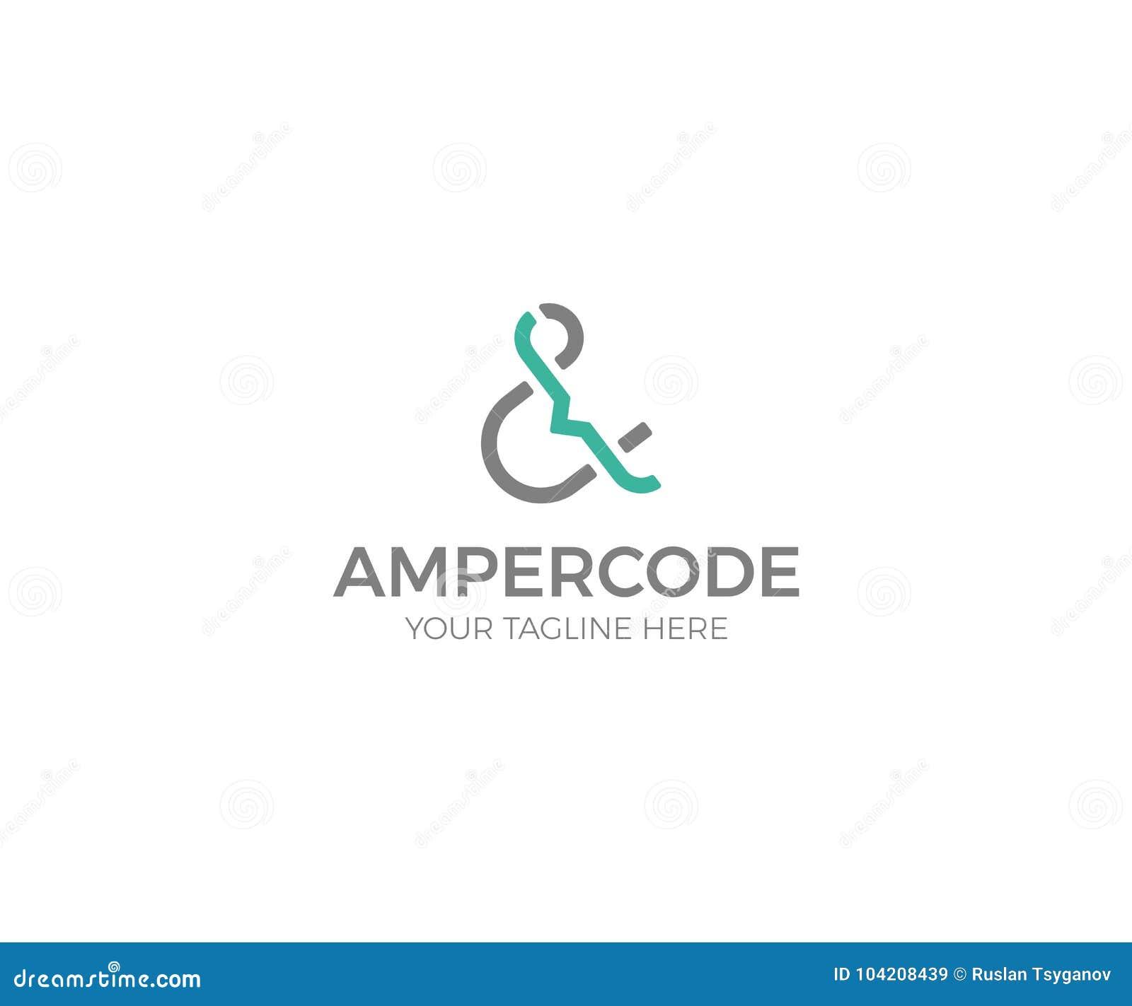 Πρότυπο λογότυπων Ampersand και κώδικα Διανυσματικό σχέδιο επιστολών
