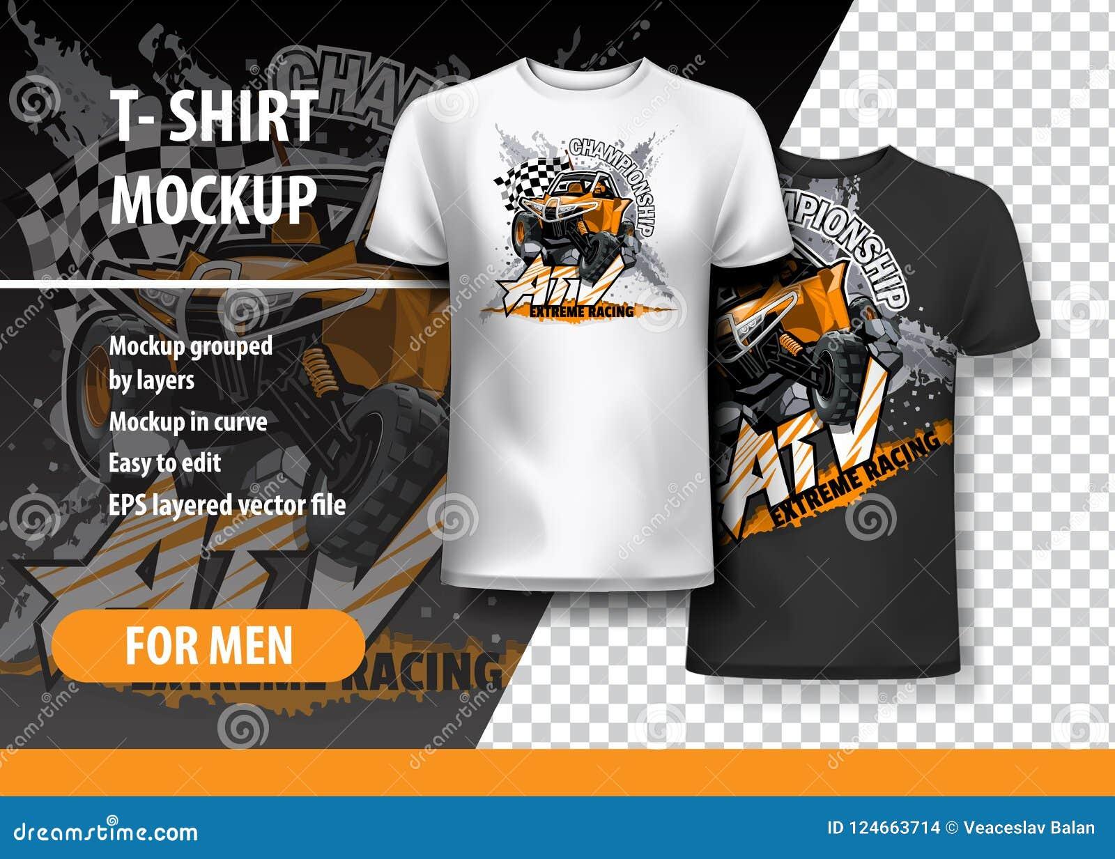Πρότυπο μπλουζών, πλήρως editable με πορτοκαλή πλαϊνό με λάθη ATV