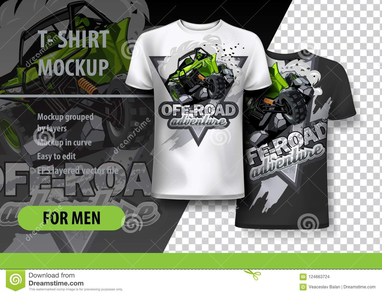 Πρότυπο μπλουζών, πλήρως editable με πράσινο ATV με λάθη