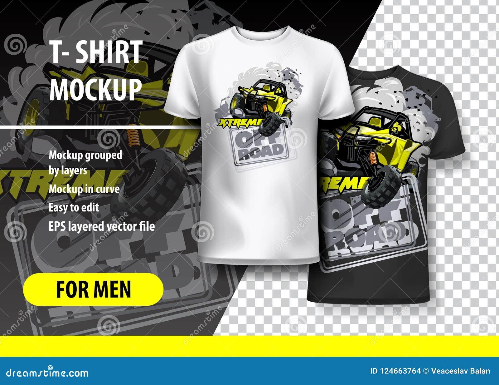 Πρότυπο μπλουζών, πλήρως editable με το κίτρινο ακραίο λογότυπο ATV