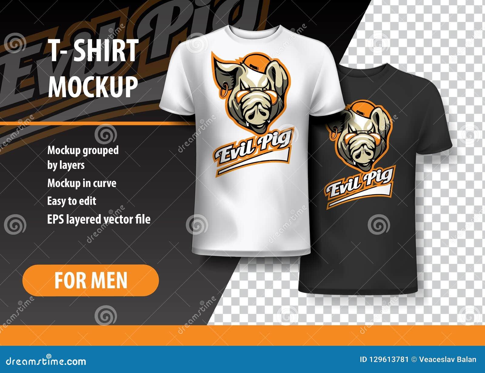 Πρότυπο μπλουζών, πλήρως editable με το κακό λογότυπο ομάδας χοίρων EPS 10 διανυσματική απεικόνιση