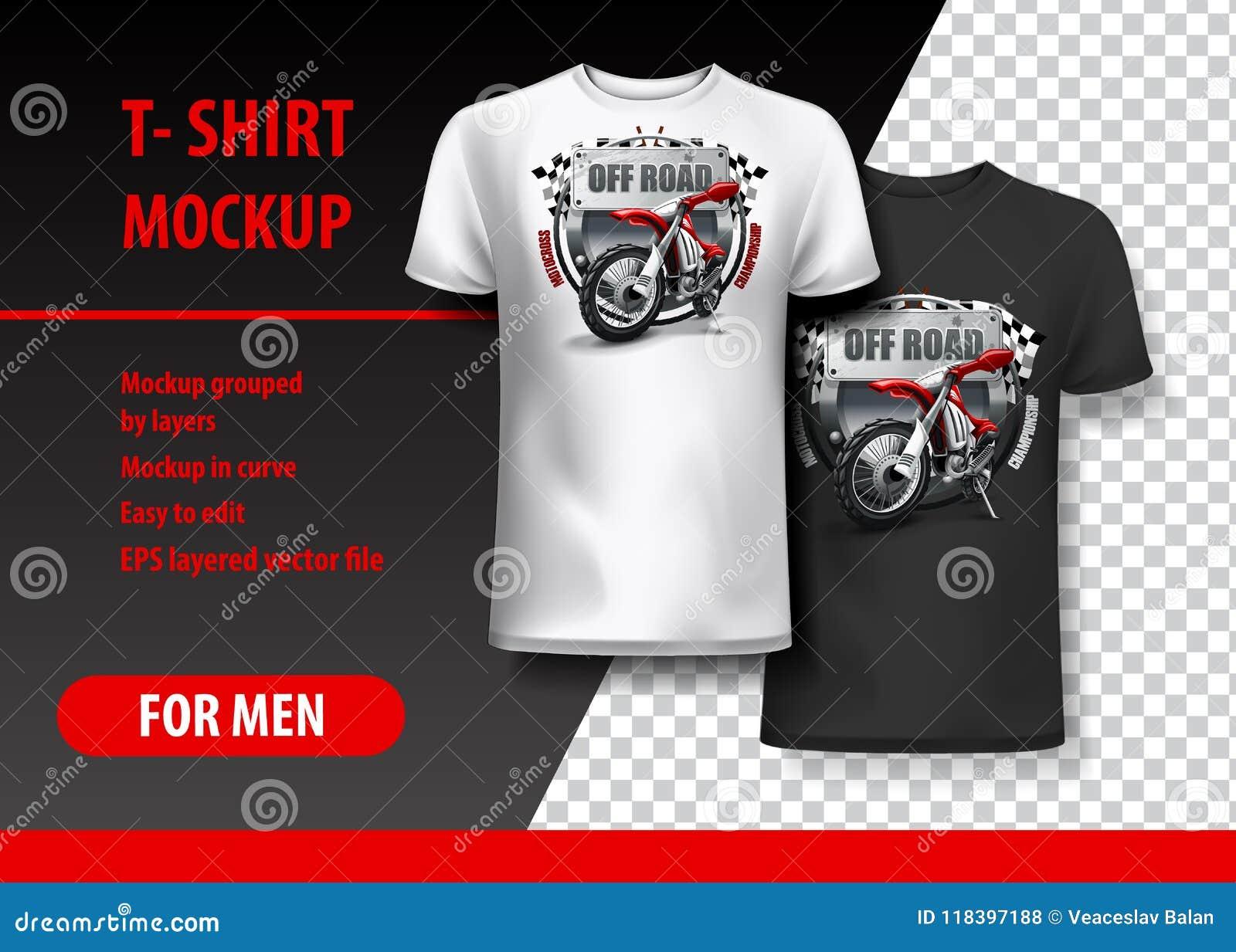 Πρότυπο μπλουζών, πλήρως editable με το λογότυπο μοτοκρός EPS 10 διανυσματική απεικόνιση