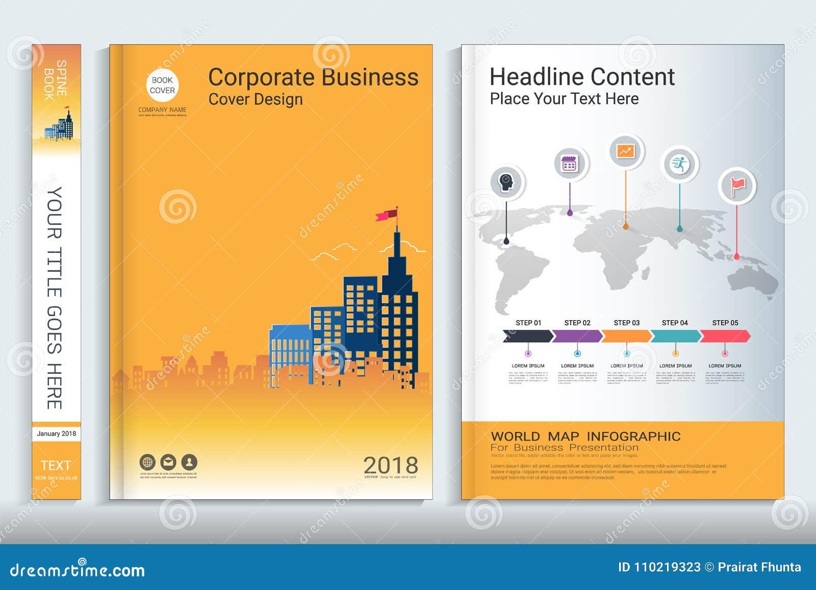 Πρότυπο σχεδίου βιβλίων κάλυψης με τα στοιχεία infographics παρουσίασης