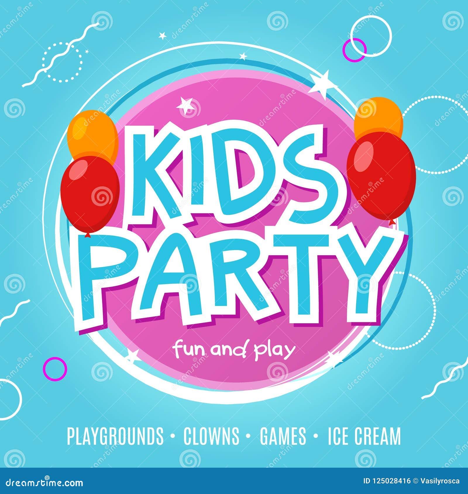 Πρότυπο σχεδίου ιπτάμενων εορτασμού κομμάτων διασκέδασης παιδιών Διακόσμηση εμβλημάτων γεγονότος παιδιών Υπόβαθρο αφισών πρόσκλησ