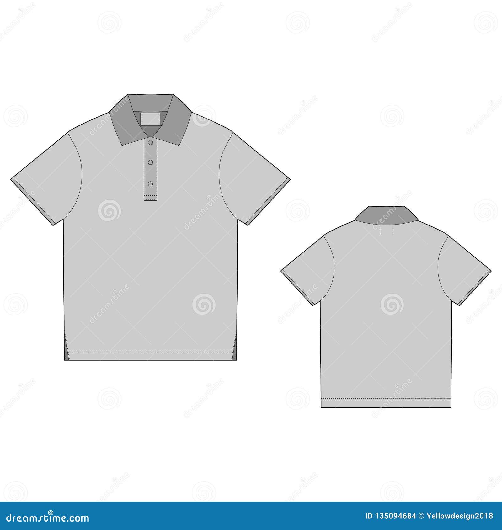 Πρότυπο σχεδίου μπλουζών πόλο πίσω μέτωπο Τεχνική για άνδρες και για γυναίκες μπλούζα σκίτσων