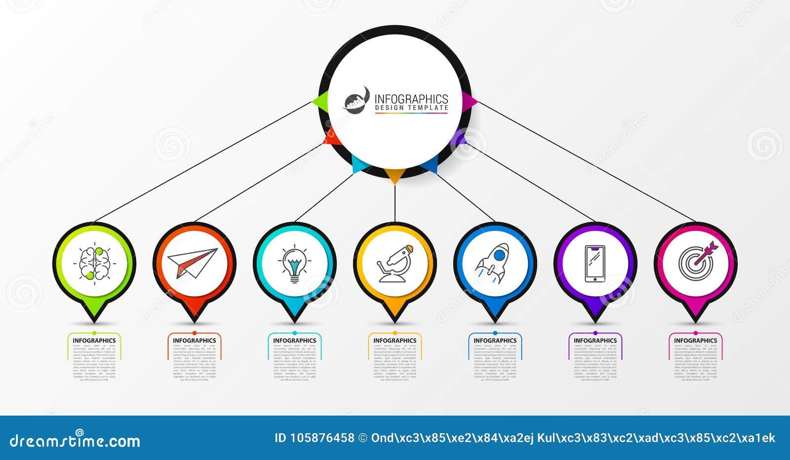 Πρότυπο σχεδίου Infographic με 7 βήματα διάνυσμα