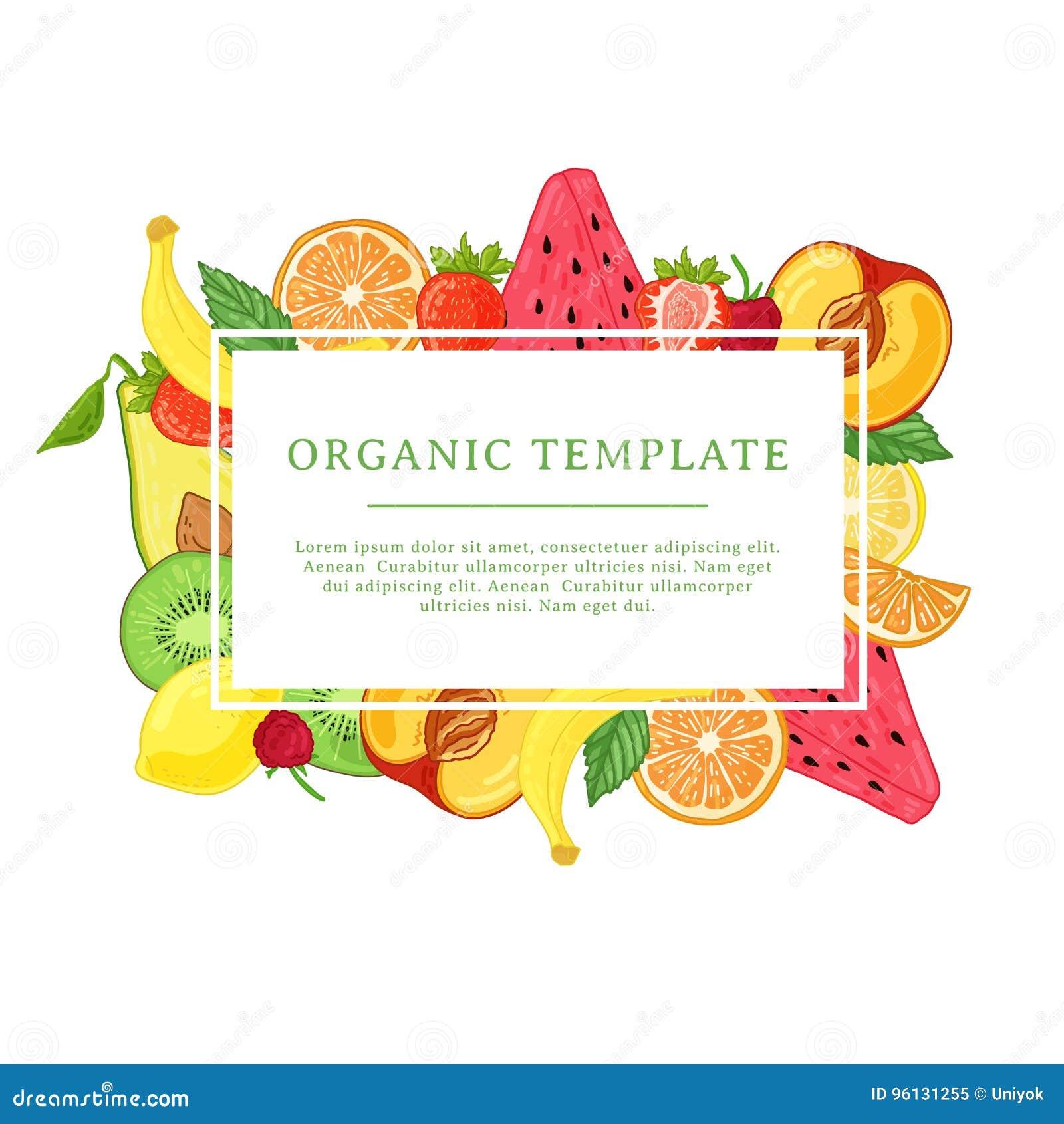 Πρότυπο σχεδίου εμβλημάτων με τη διακόσμηση φρούτων Ορθογώνιο πλαίσιο με το ντεκόρ των υγιών, juicy φρούτων Κάρτα με το διάστημα
