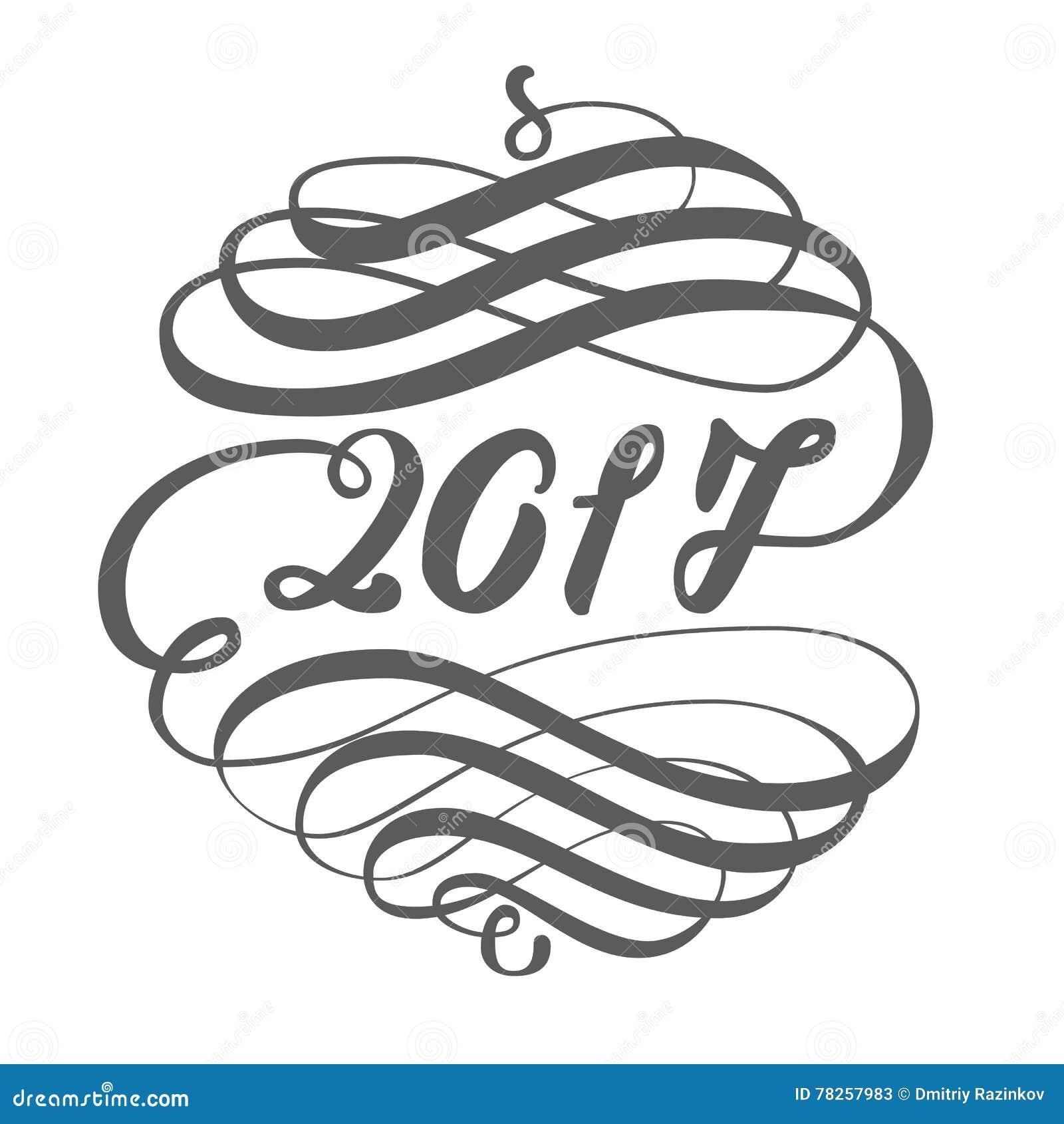 Πρότυπο σχεδίου ευχετήριων καρτών με τα στοιχεία καλλιγραφίας για το νέο έτος του 2017 του κόκκορα Συρμένη χέρι εγγραφή επάνω