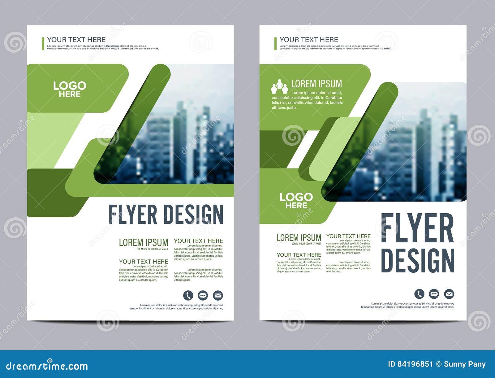 Πρότυπο σχεδίου σχεδιαγράμματος φυλλάδιων πρασινάδων Παρουσίαση κάλυψης φυλλάδιων ιπτάμενων ετήσια εκθέσεων