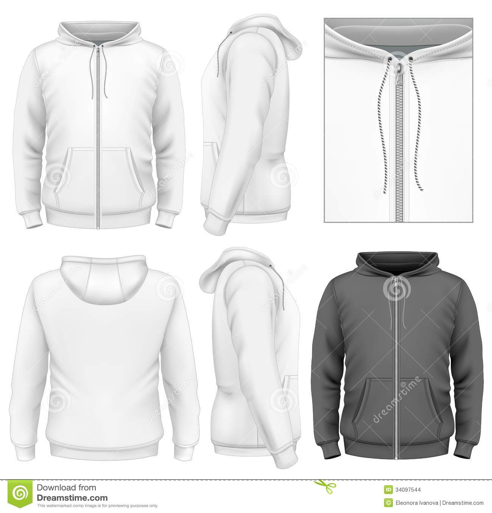 Πρότυπο σχεδίου φερμουάρ ατόμων hoodie