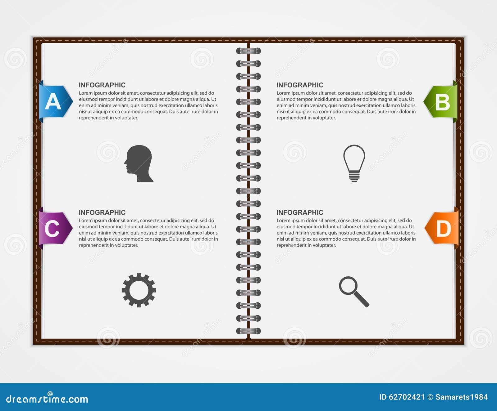 Πρότυπο σχεδίου Infographics Ανοικτό σημειωματάριο με τη ζωηρόχρωμη κορδέλλα