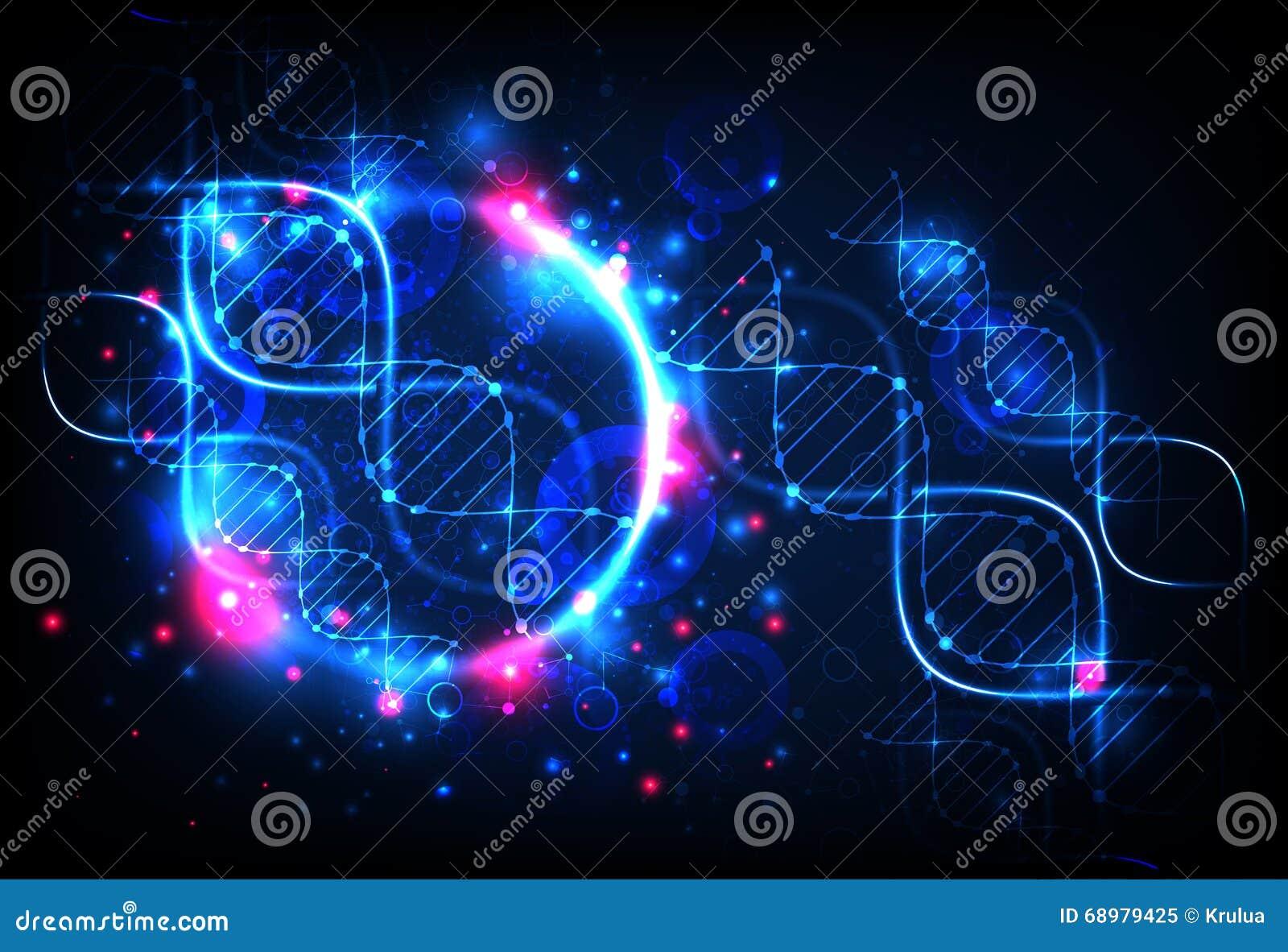 Πρότυπο, ταπετσαρία ή έμβλημα επιστήμης με τα μόρια ενός DNA