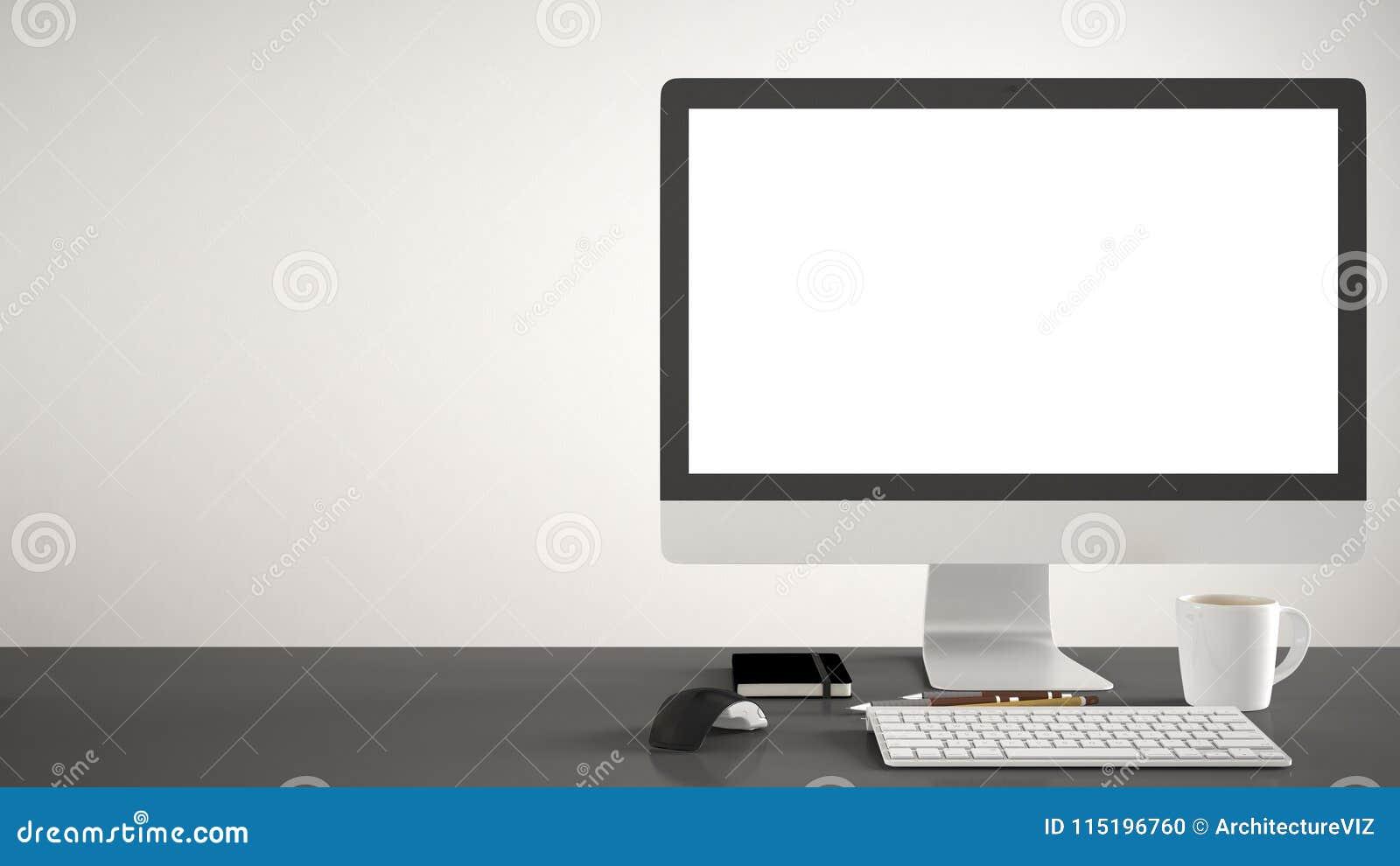 Πρότυπο υπολογιστών γραφείου, πρότυπο, υπολογιστής στο γκρίζο γραφείο εργασίας με την κενή οθόνη, ποντίκι πληκτρολογίων και σημει
