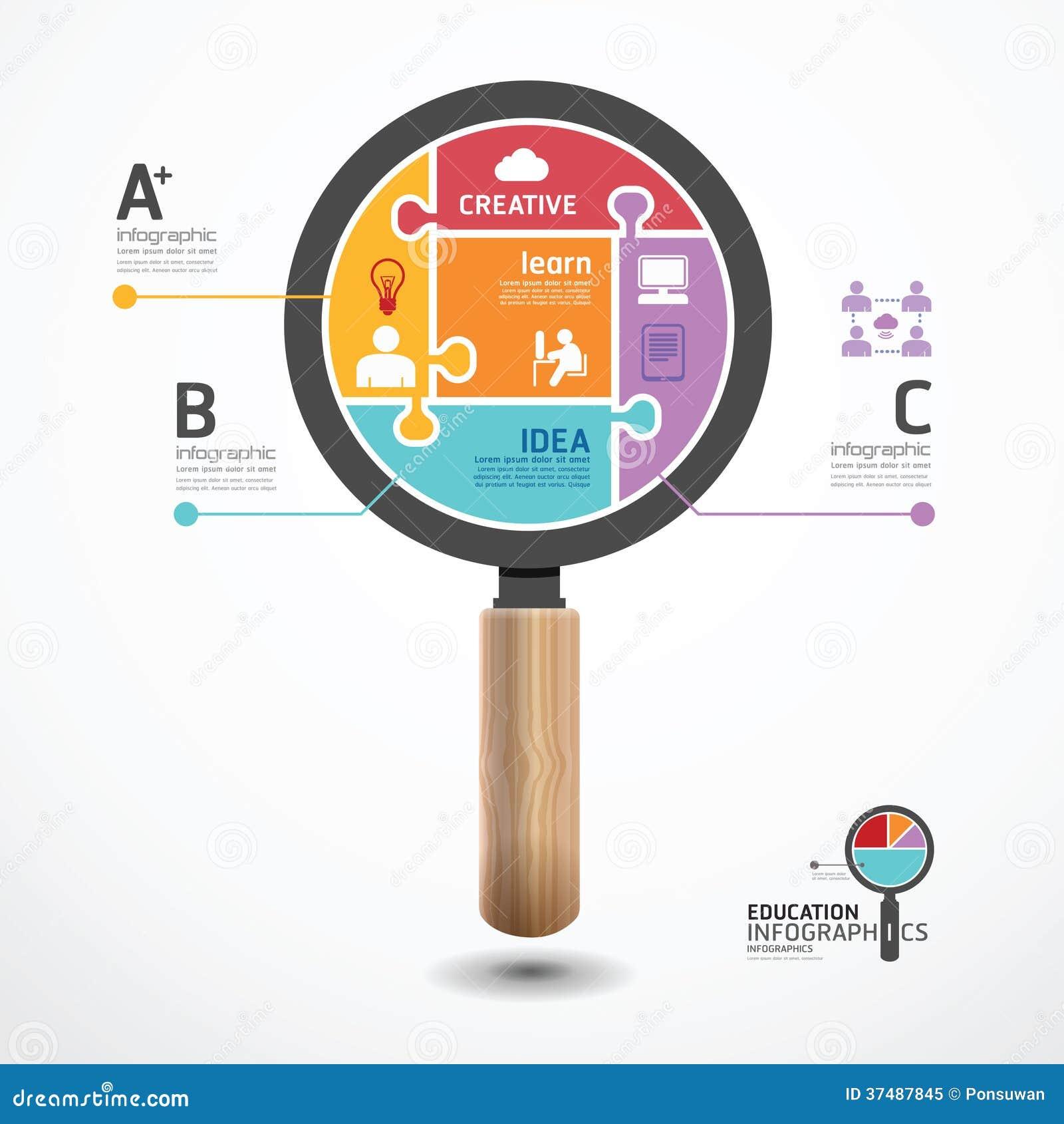Πρότυπο Infographic με το πιό magnifier έμβλημα τορνευτικών πριονιών