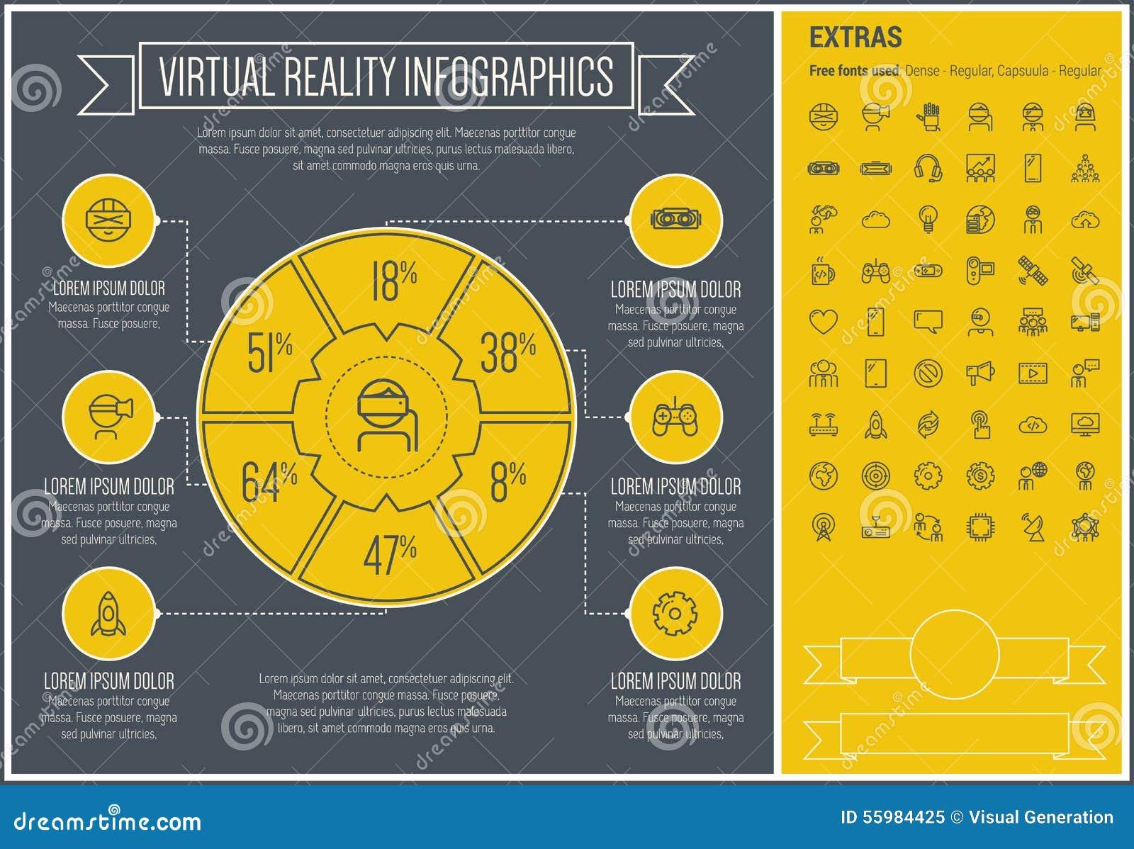 Πρότυπο Infographic σχεδίου γραμμών εικονικής πραγματικότητας