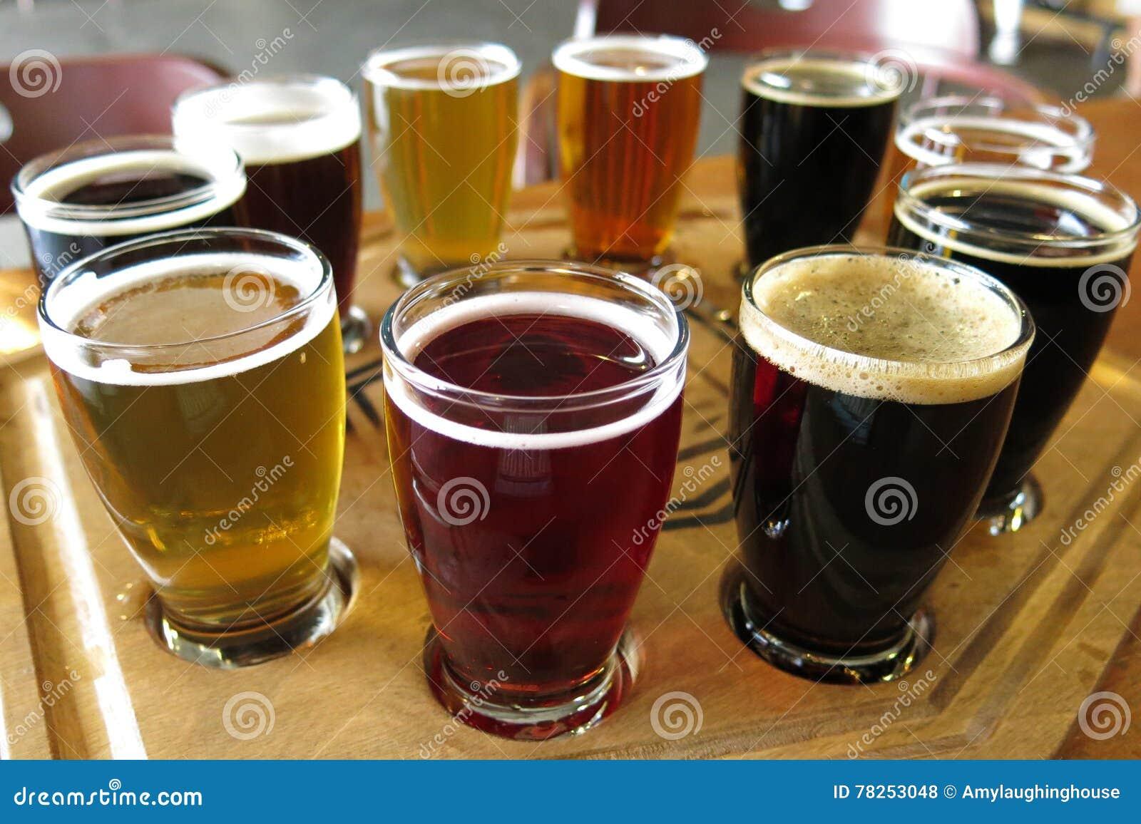 Πτήση δοκιμής μπύρας της μπύρας σχεδίων μπύρας τεχνών μπυρών