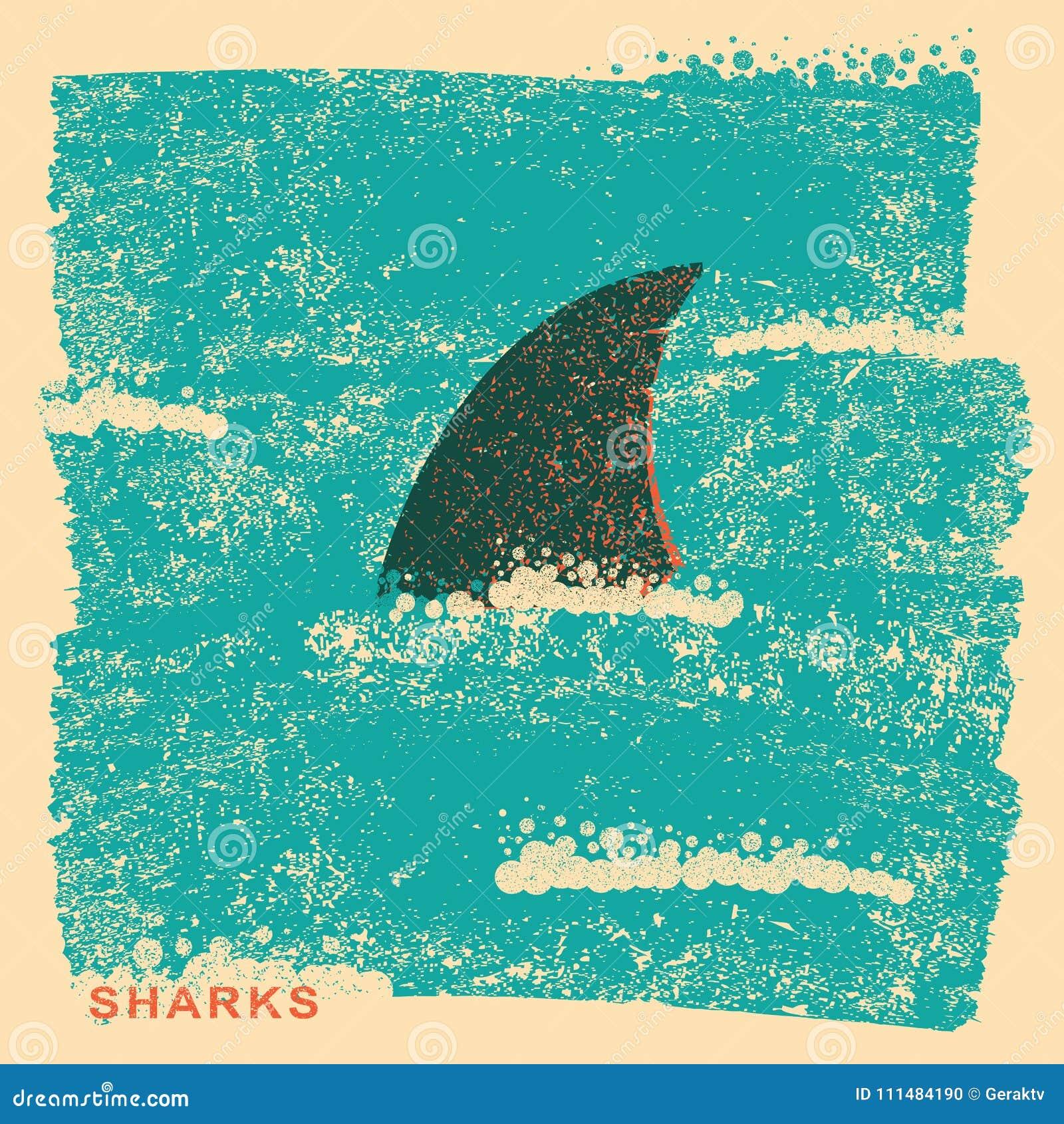 Πτερύγιο καρχαριών στον ωκεανό Εκλεκτής ποιότητας αφίσα στην παλαιά σύσταση εγγράφου
