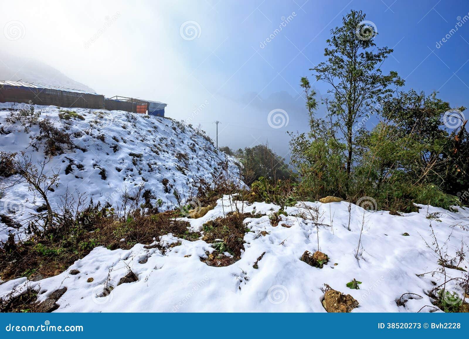 Πτώσεις χιονιού σε Sapa, Βιετνάμ