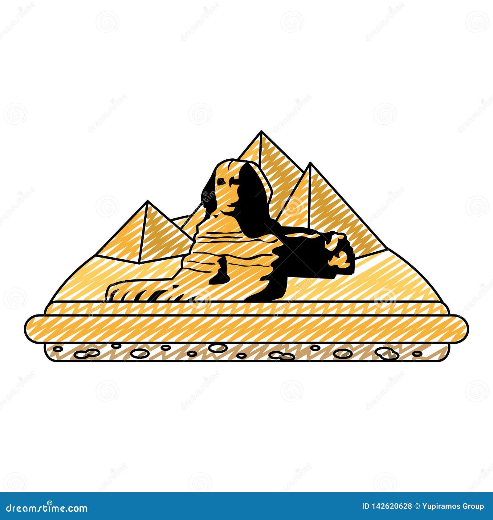 Πυραμίδες αρχιτεκτονικής γλυπτών της Αιγύπτου giza Doodle