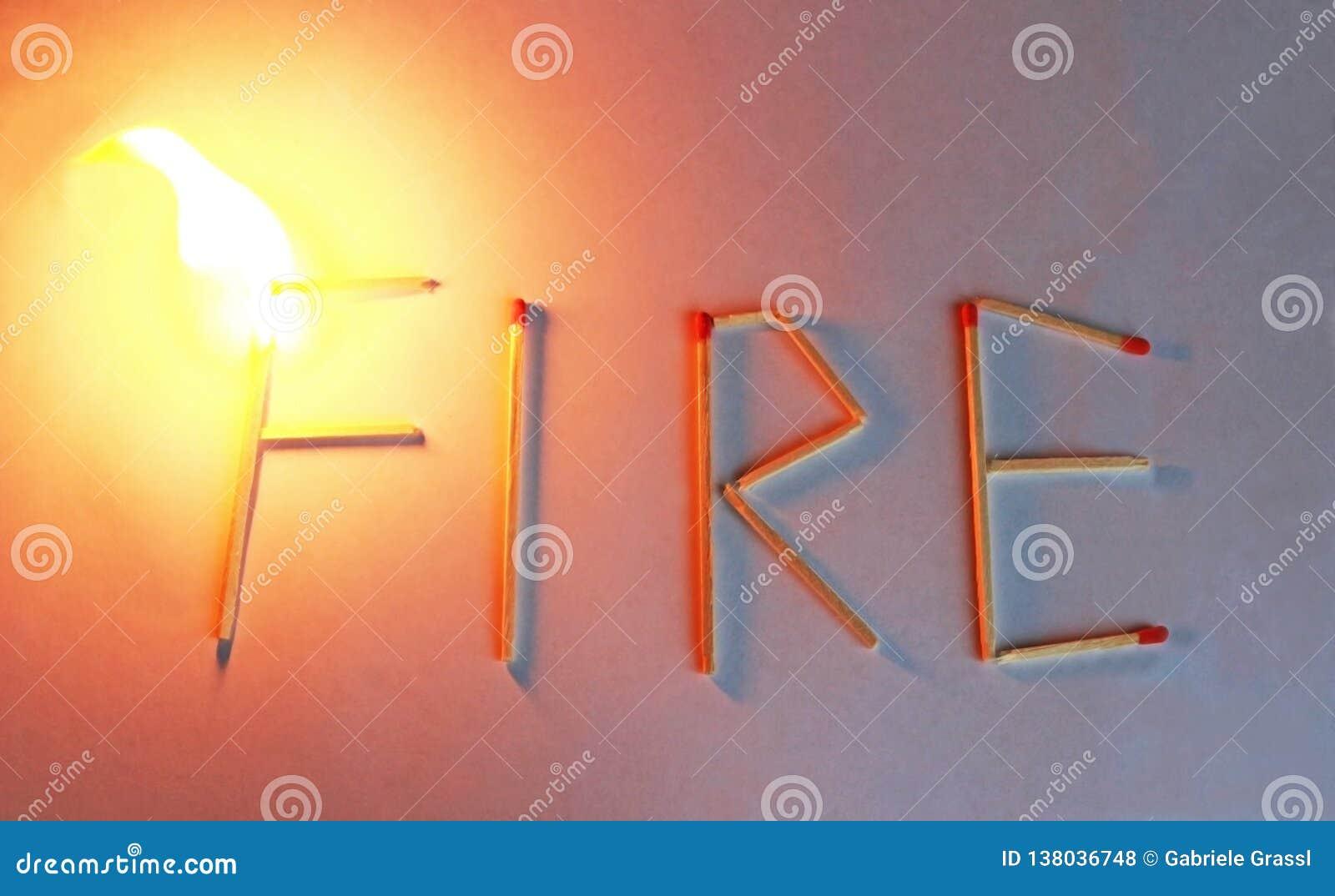 Πυρκαγιά λέξης που πιάνει την πυρκαγιά, που καίει τη φλόγα