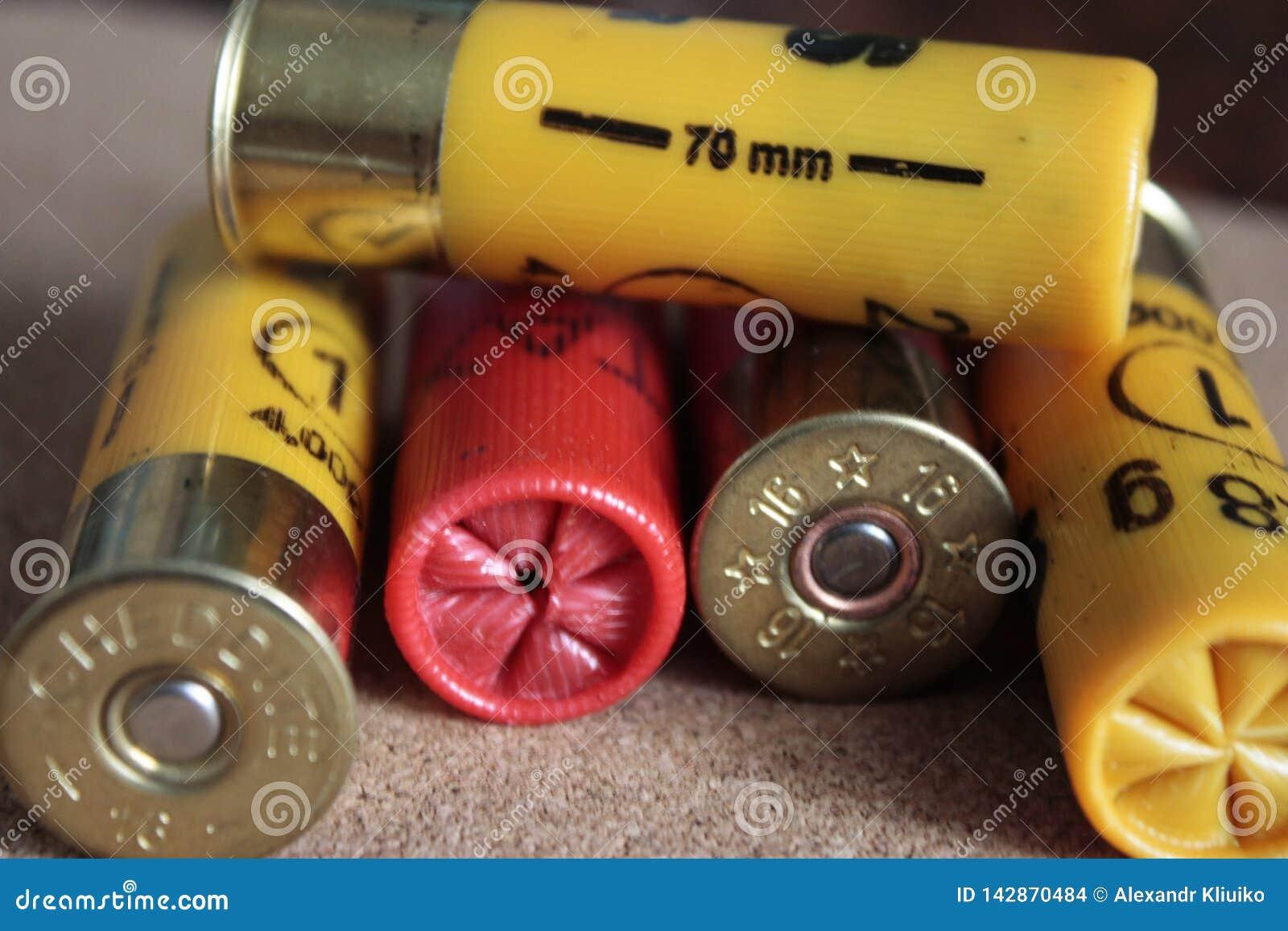 Πυρομαχικά κυνηγετικών όπλων κινηματογραφήσεων σε πρώτο πλάνο ή κυνηγετικών όπλων 16 caliber σε ένα κίτρινο και κόκκινο ξύλινο υπ