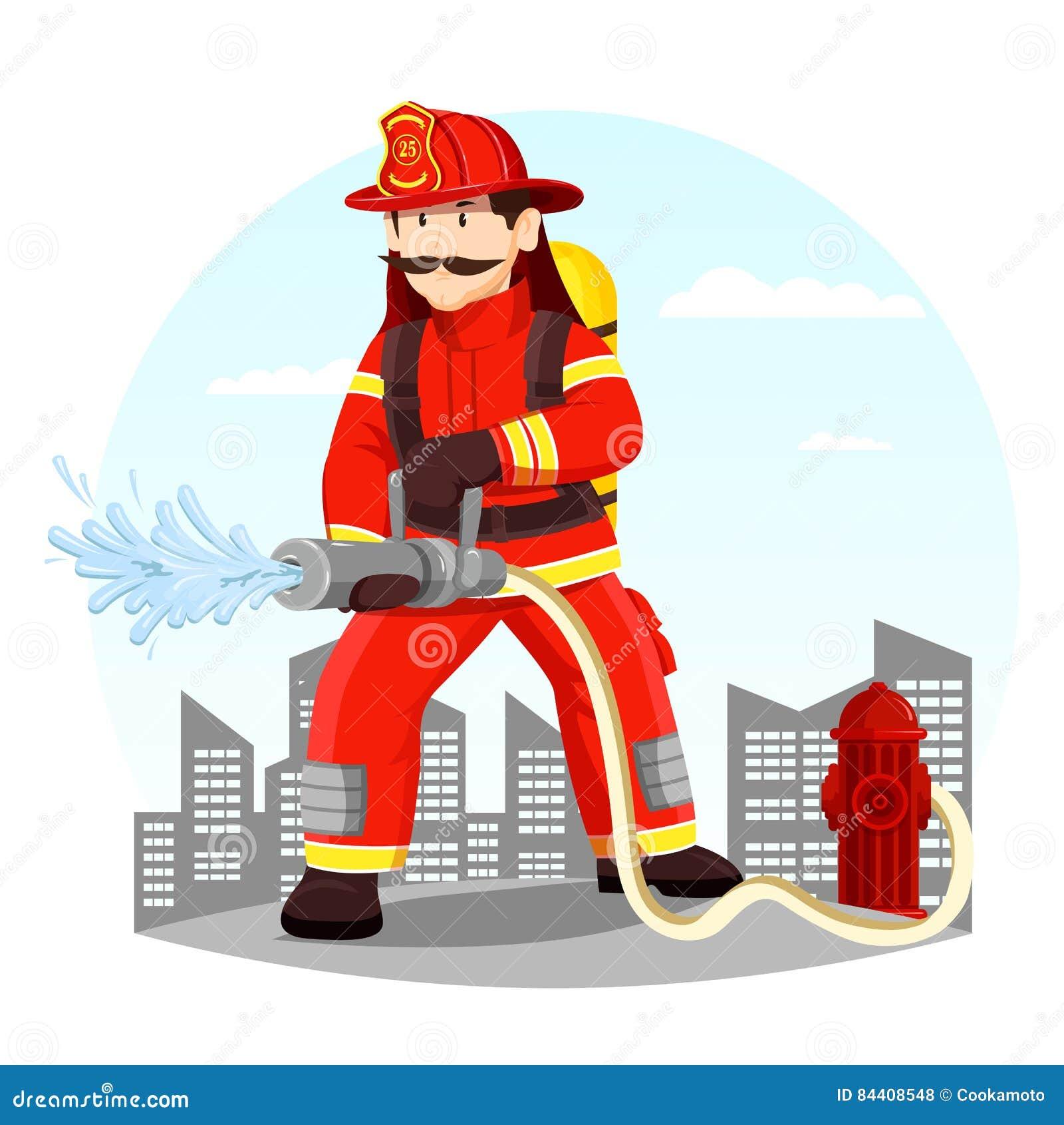 Πυροσβέστης στο ομοιόμορφο ψεκάζοντας νερό με τη μάνικα